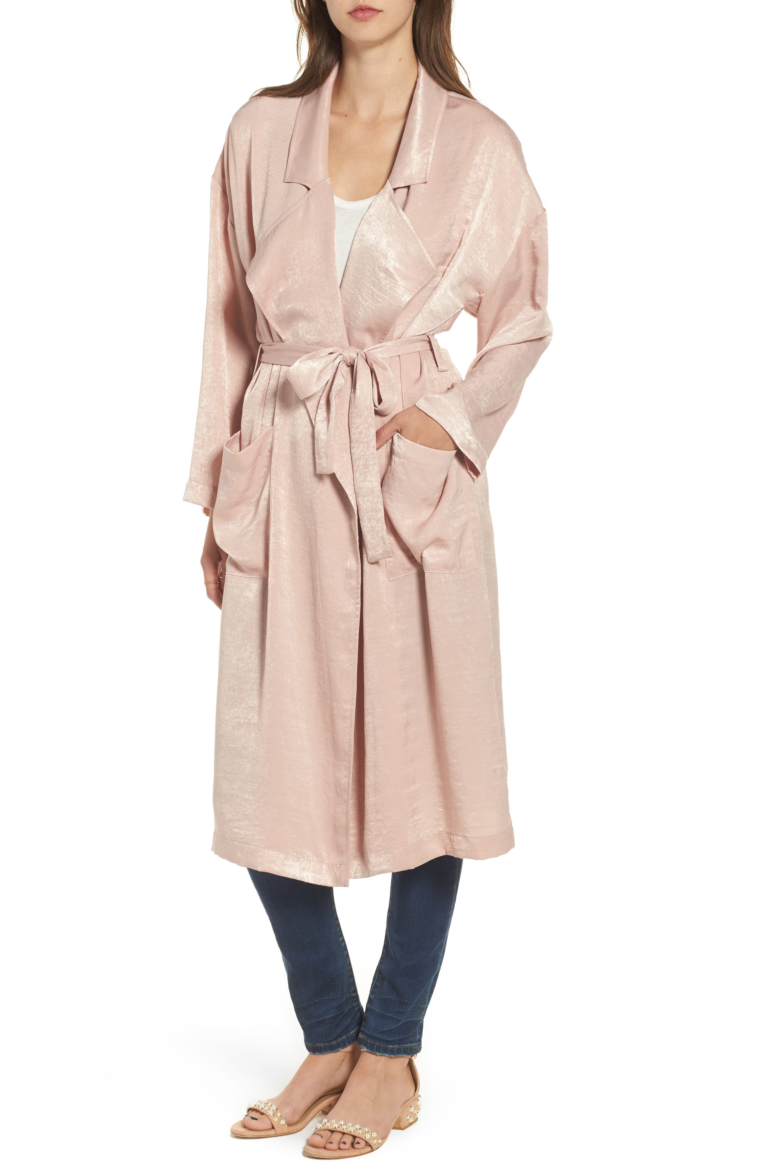 Satin Trench Coat,                             Alternate thumbnail 4, color,                             Pink Adobe