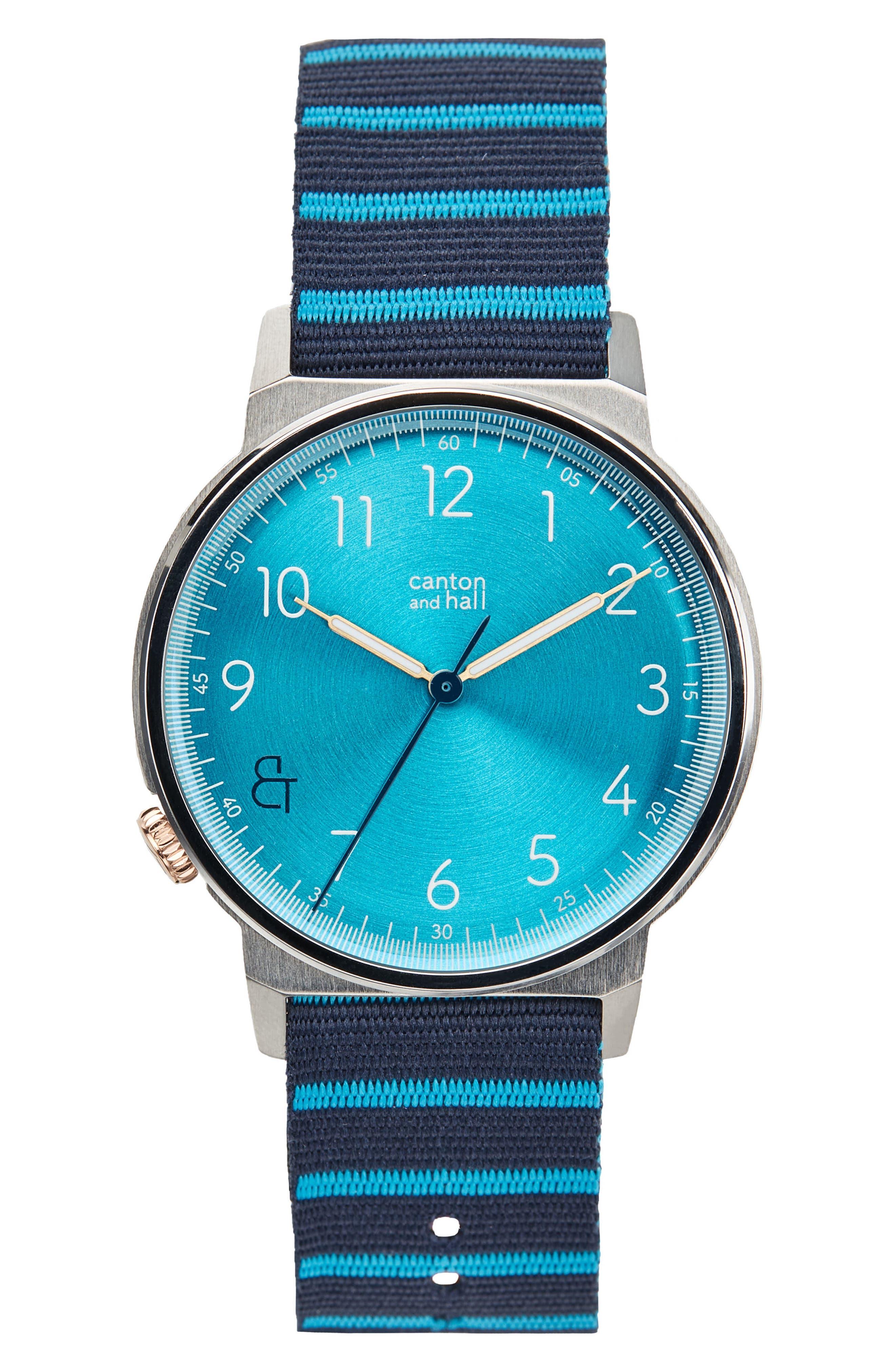 Davis Slim Nylon Strap Watch, 40mm,                         Main,                         color, Blue/ Navy