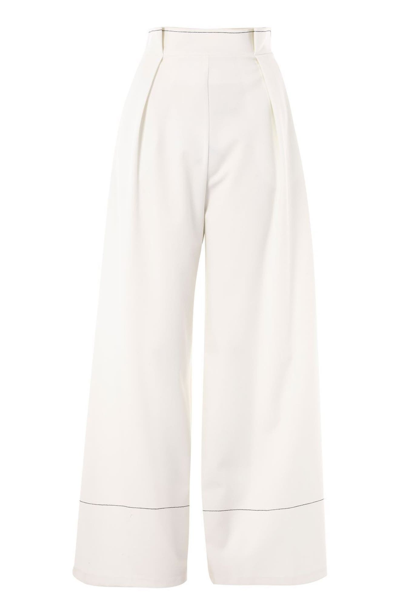Alternate Image 3  - Topshop Stitched Wide Leg Trousers