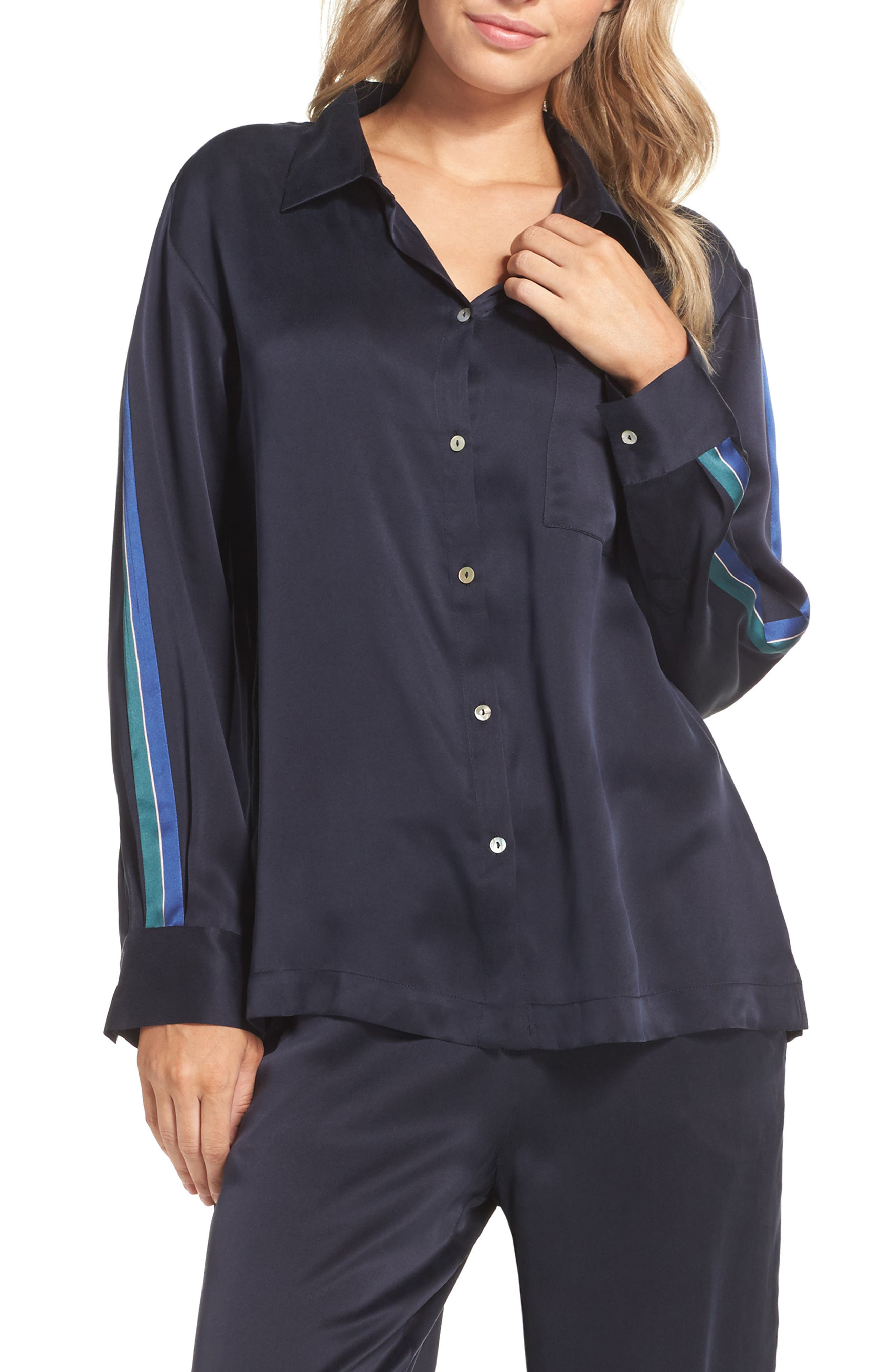 Silk Pajama Top,                         Main,                         color, Midnight Bold Stripe