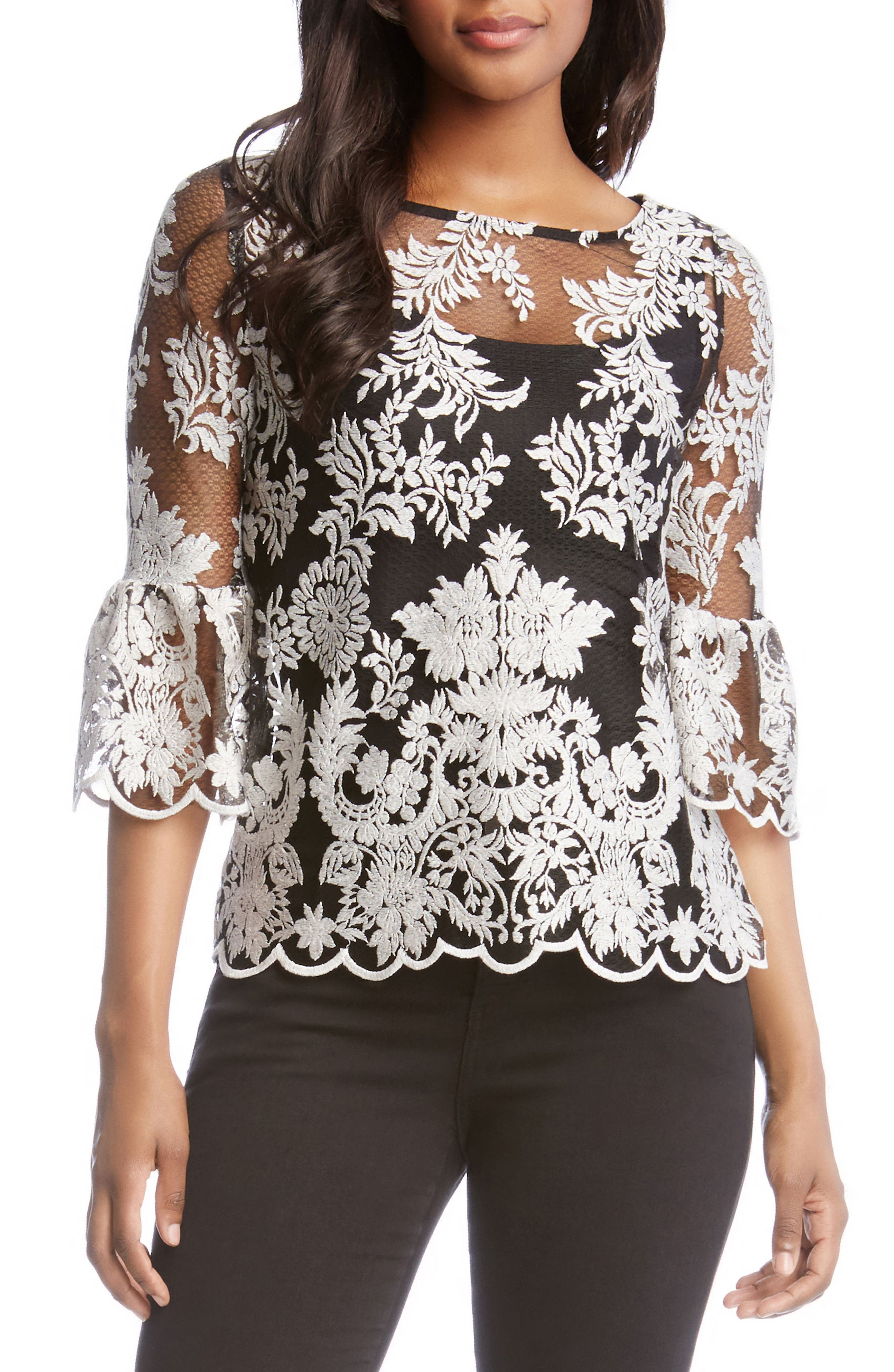 Bell Sleeve Lace Top,                         Main,                         color, Off White/ Black
