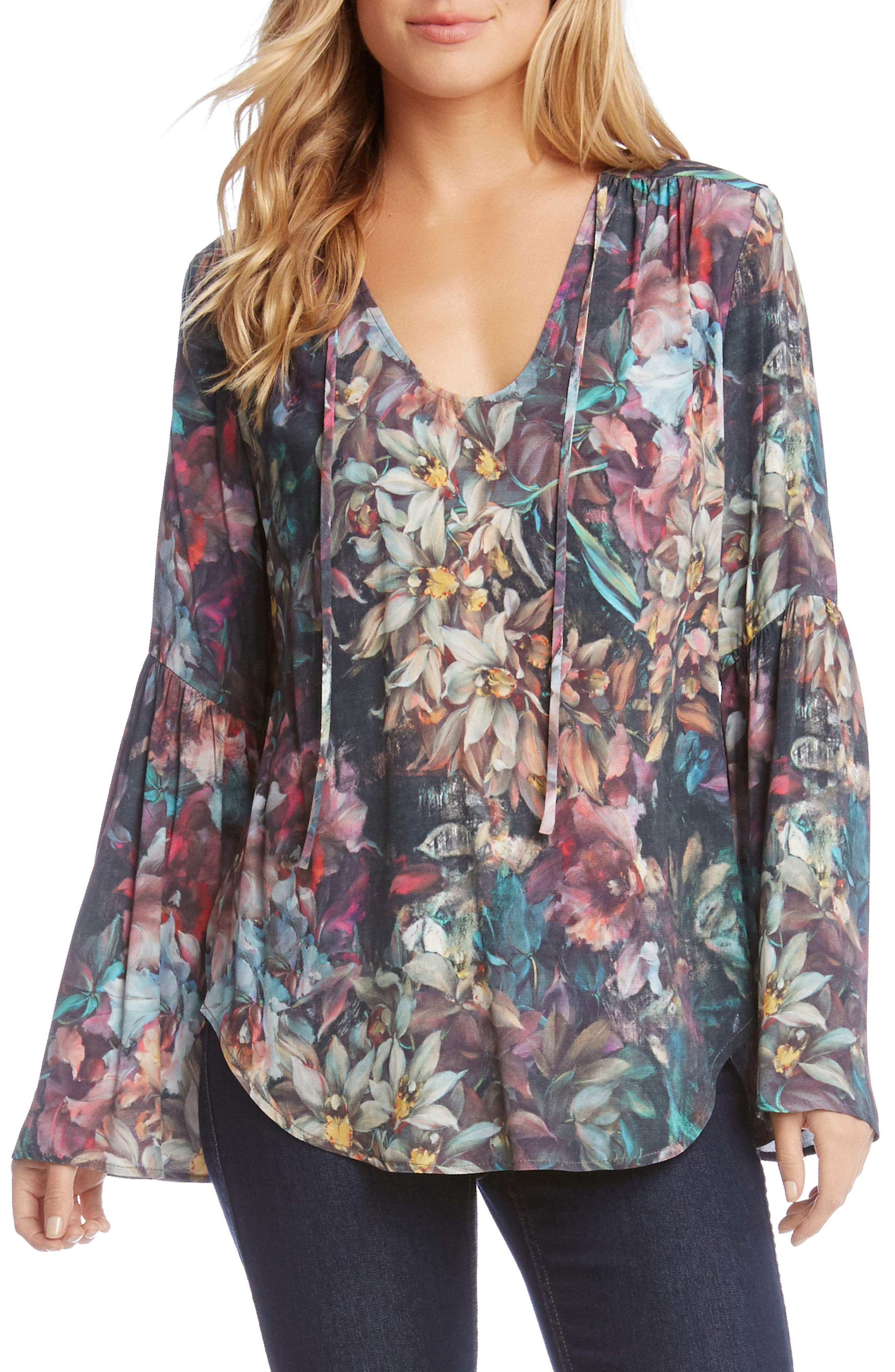 Painted Floral Bell Sleeve Top,                         Main,                         color, Floral