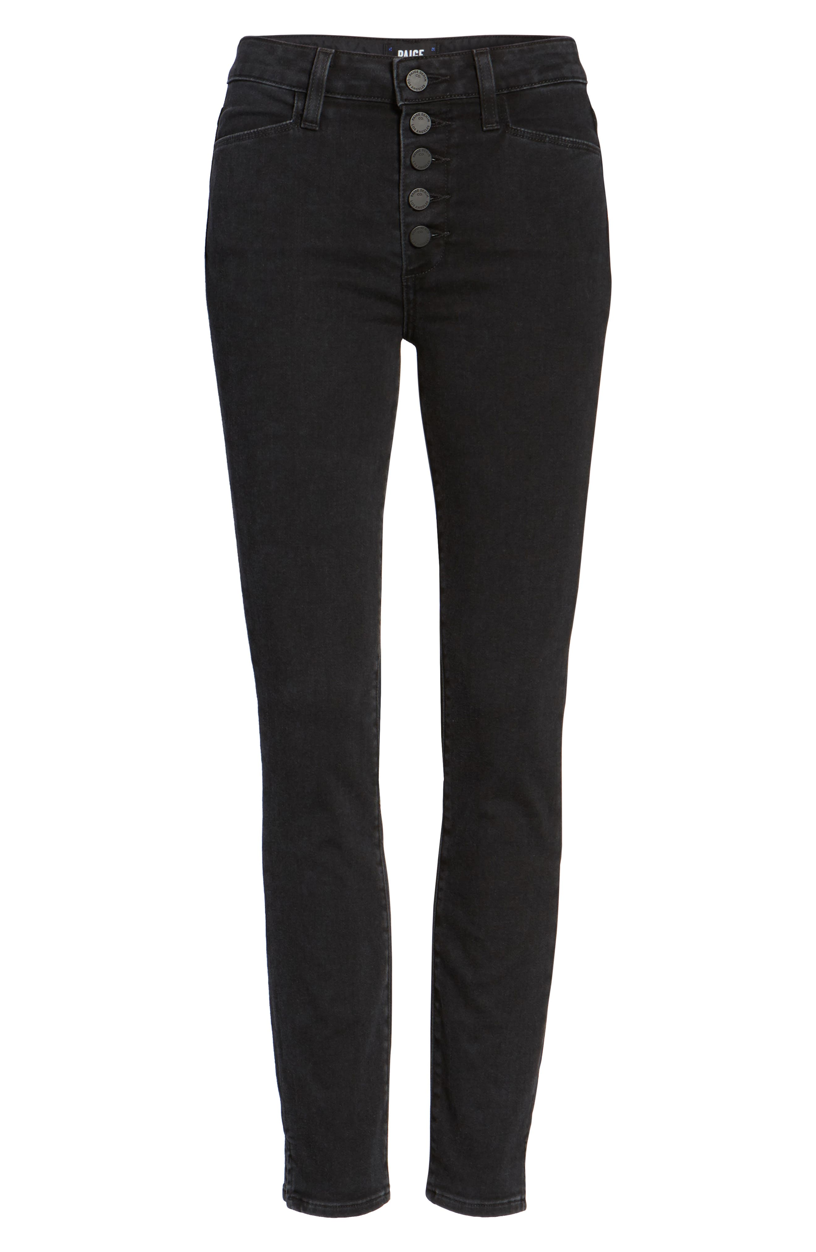 Hoxton Button High Waist Ankle Skinny Jeans,                             Alternate thumbnail 6, color,                             Joannie