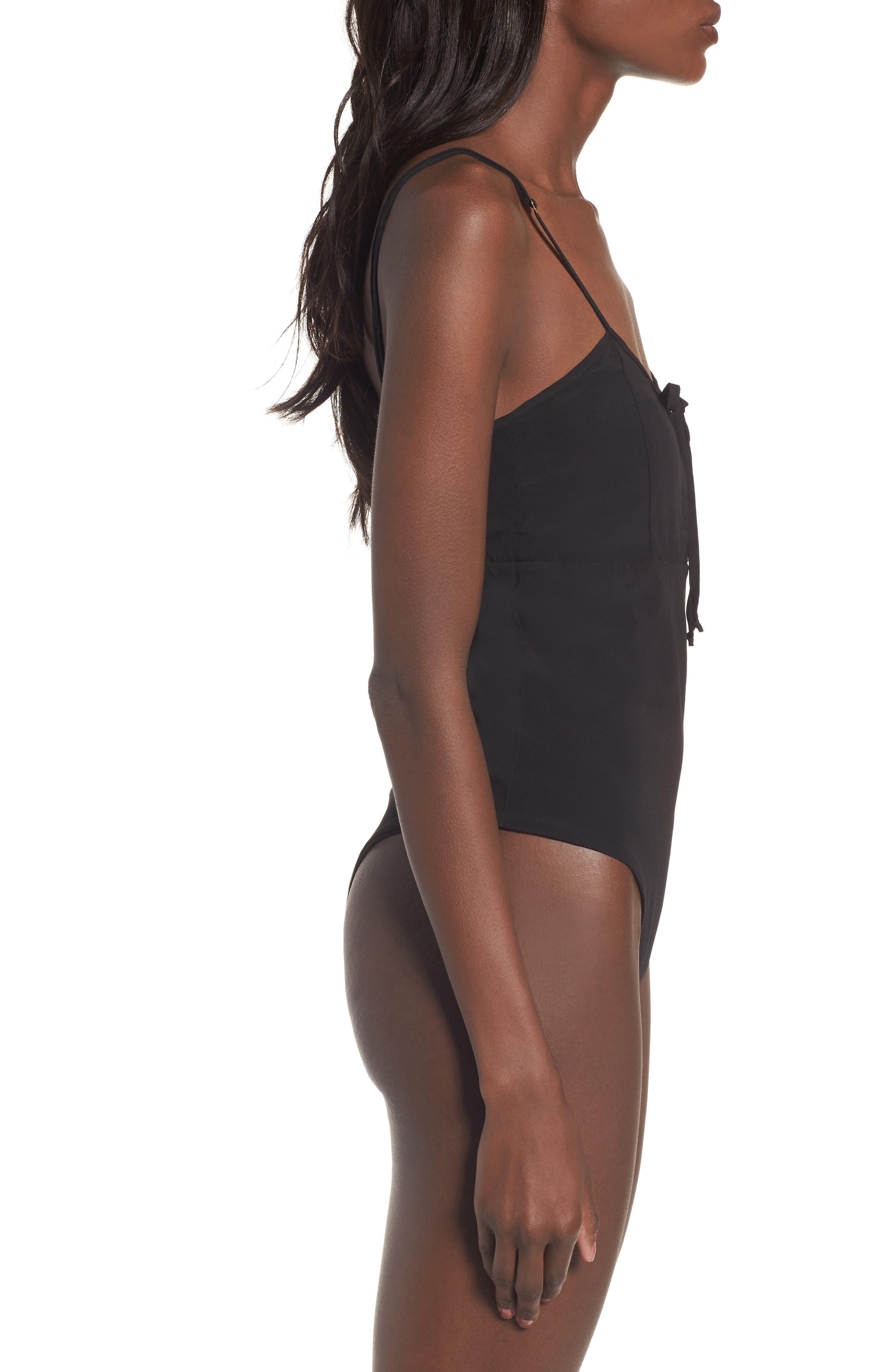 Melanie Thong Bodysuit,                             Alternate thumbnail 3, color,                             Black