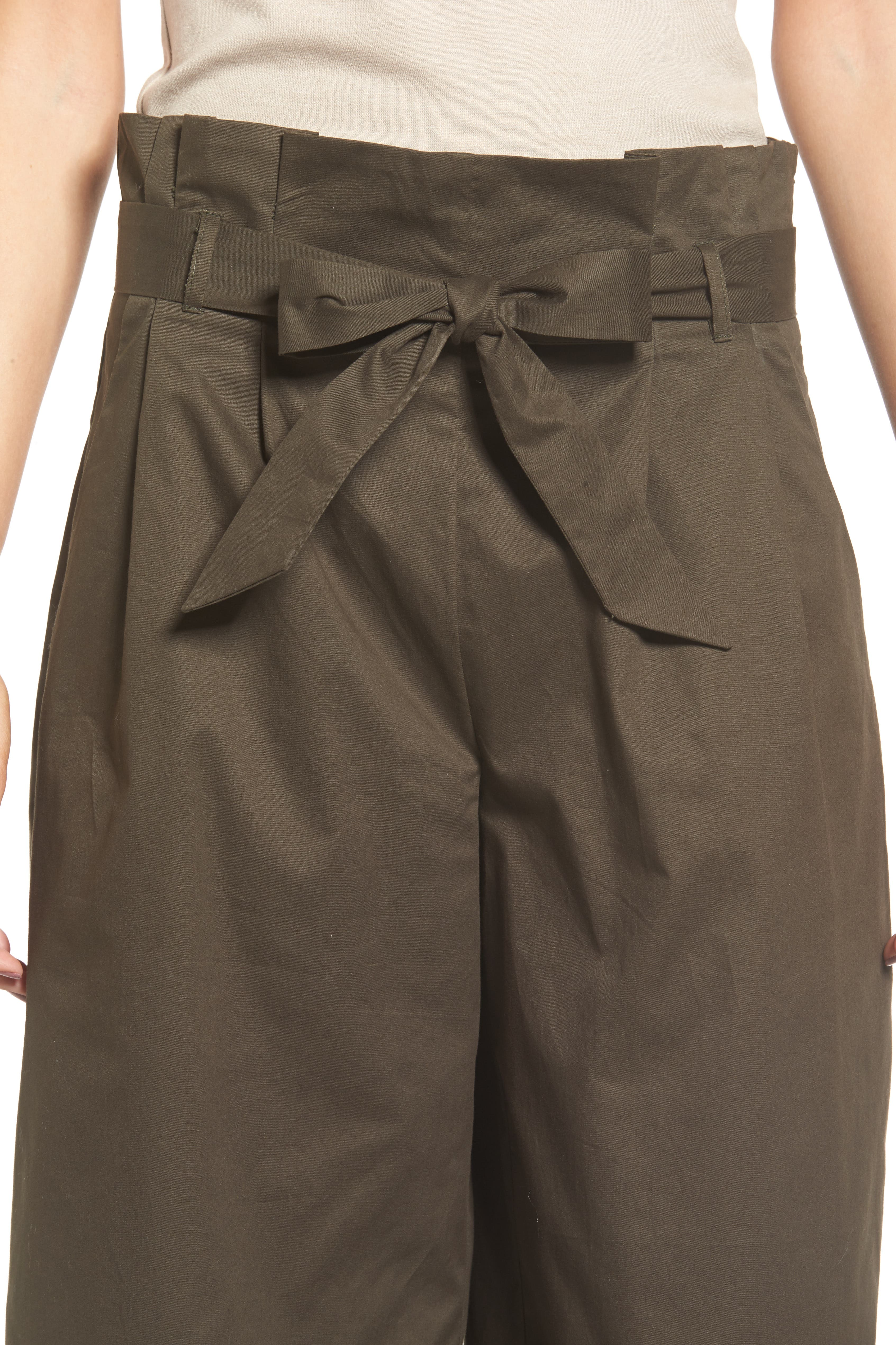 Paperbag Waist Wide Leg Pants,                             Alternate thumbnail 5, color,                             Brined Olive