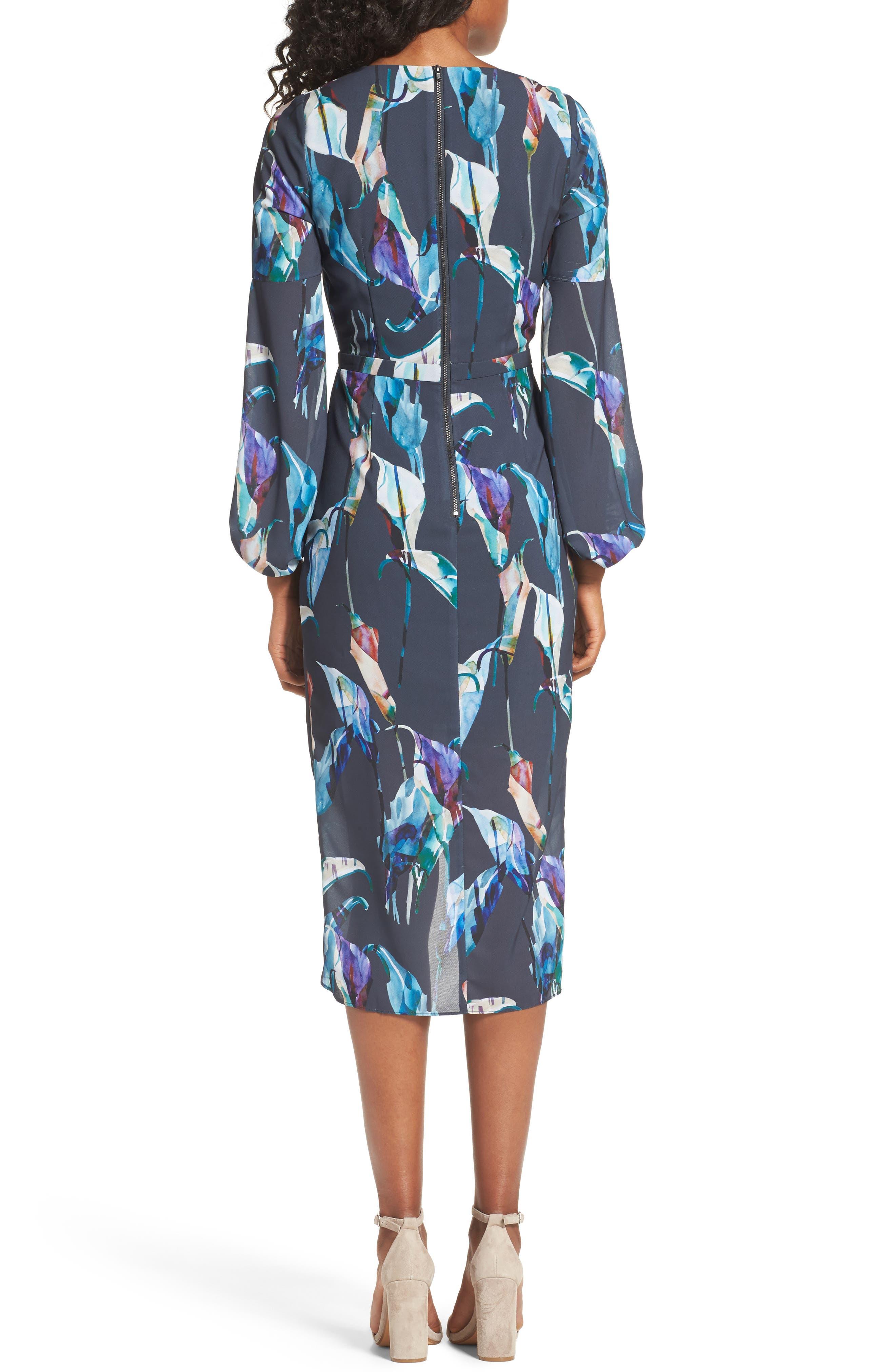 Romanticise Midi Dress,                             Alternate thumbnail 2, color,                             Black/ Aqua