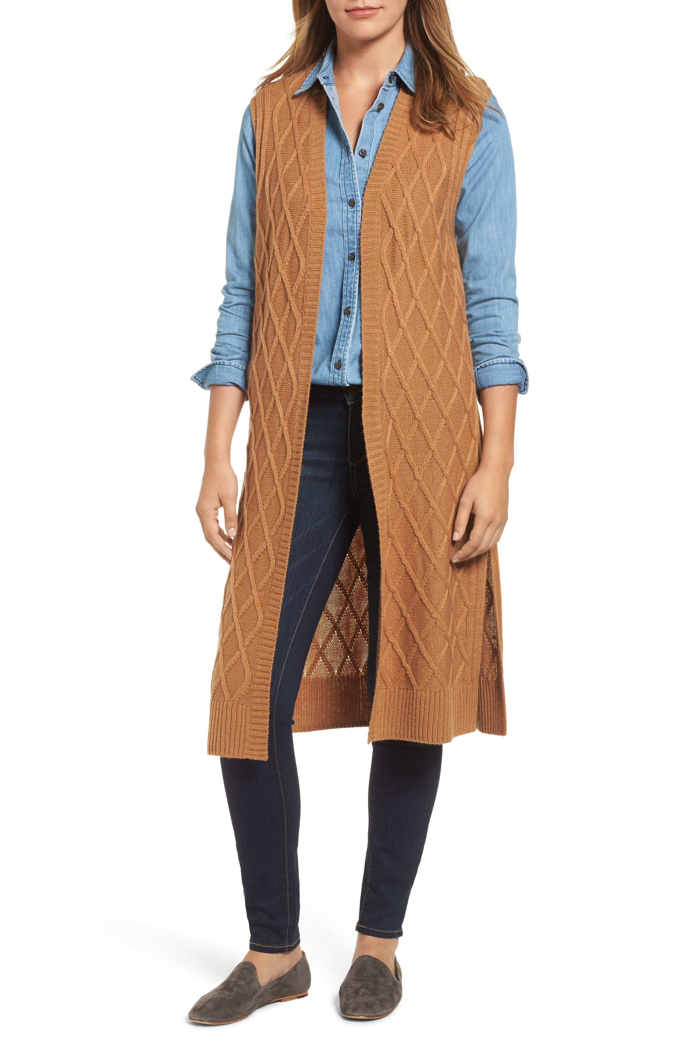 Cable Stitch Long Sweater Vest,                         Main,                         color, Tan Dale