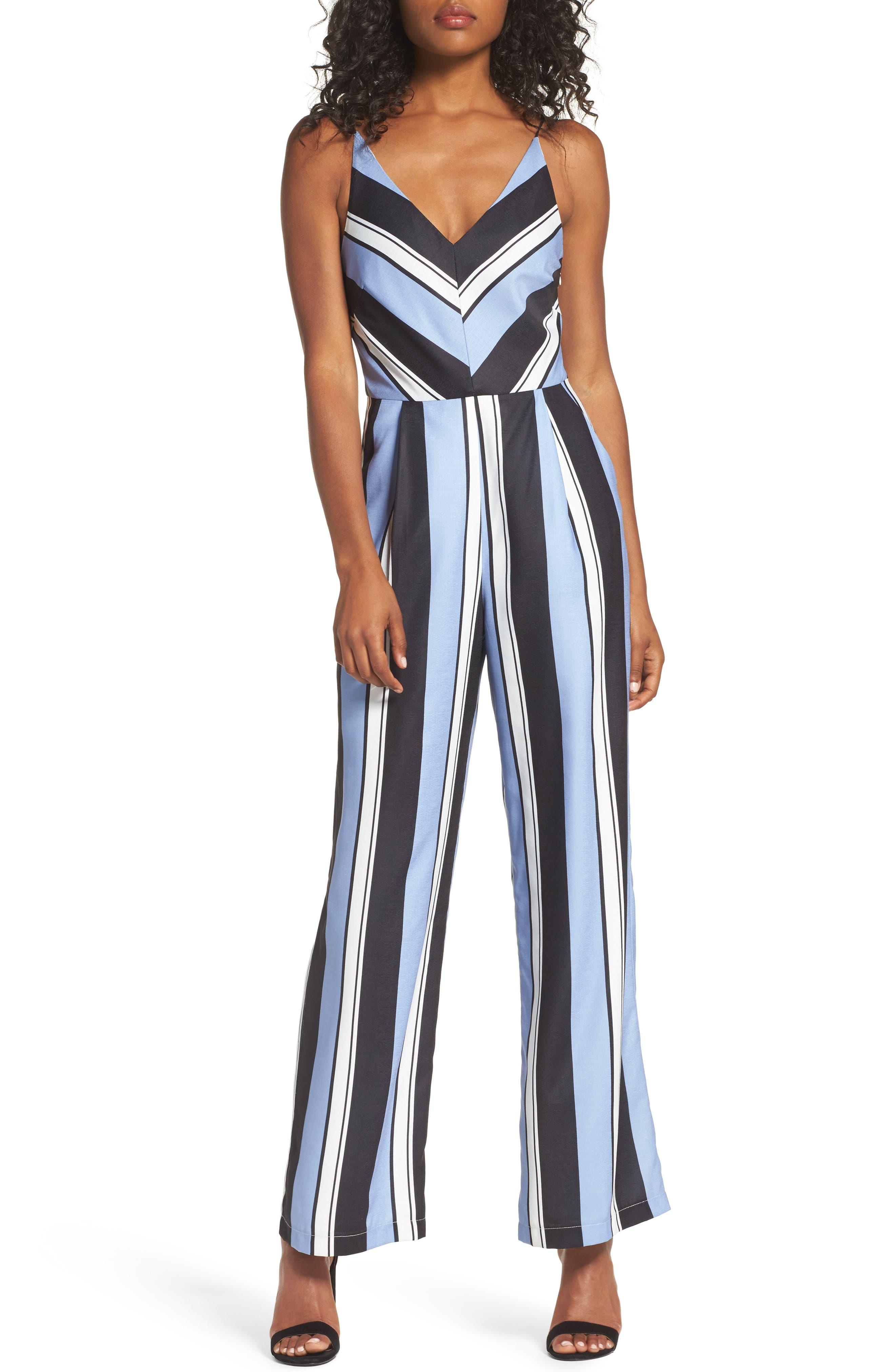 Stripe Crepe Jumpsuit,                         Main,                         color, Blue/ Black Stripe