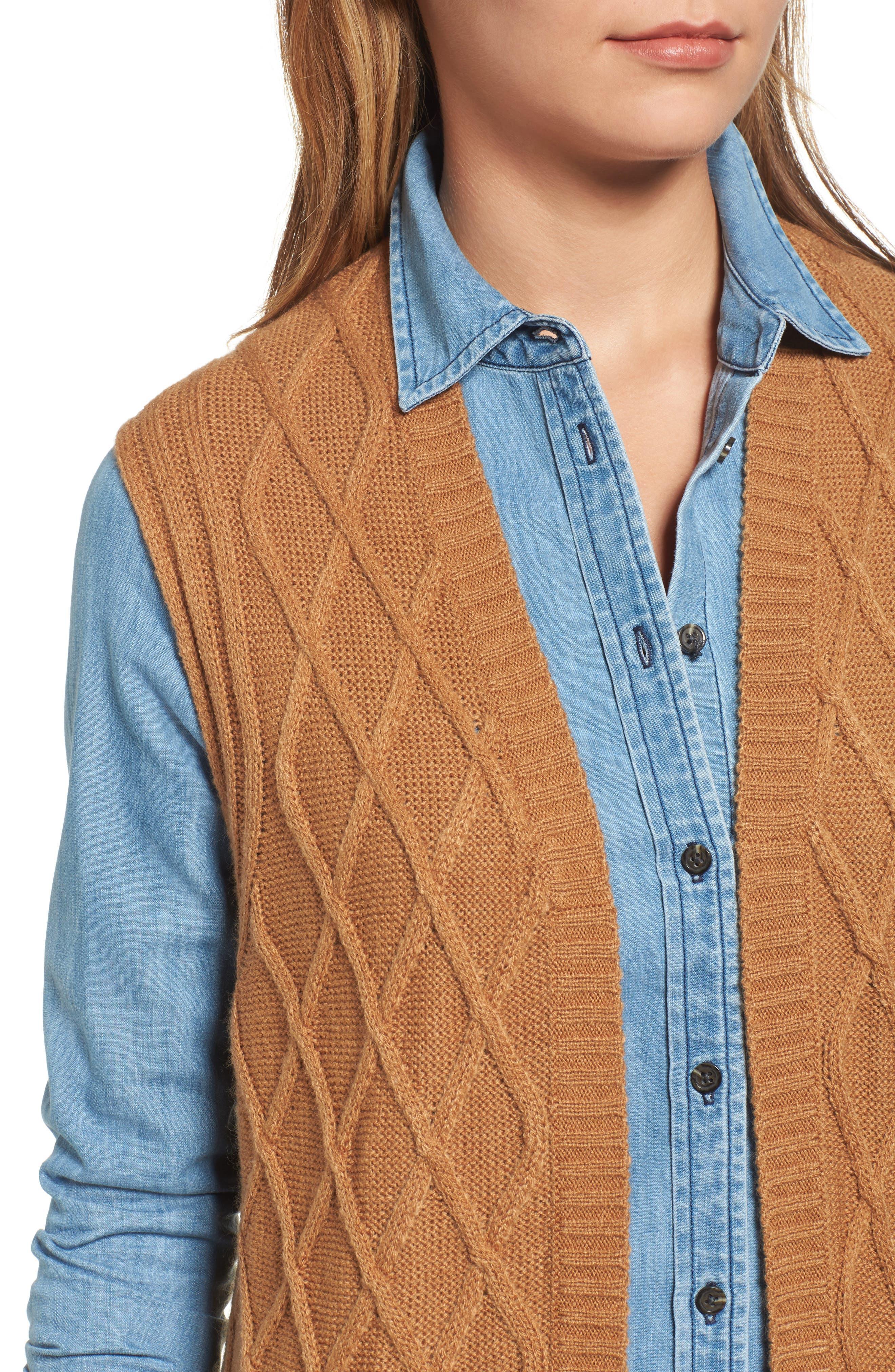 Cable Stitch Long Sweater Vest,                             Alternate thumbnail 4, color,                             Tan Dale