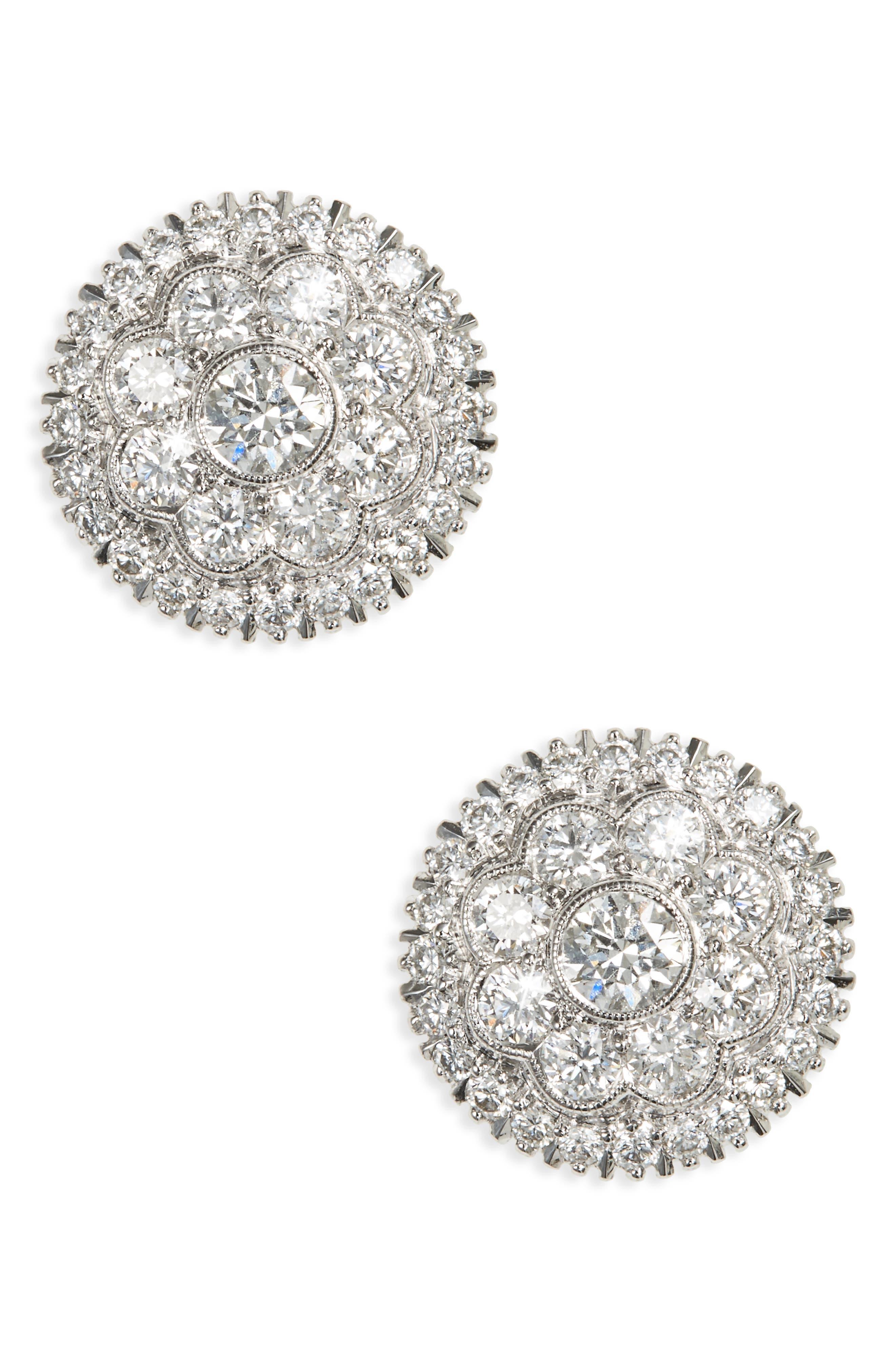 Diamond Stud Earrings,                             Main thumbnail 1, color,                             White Gold