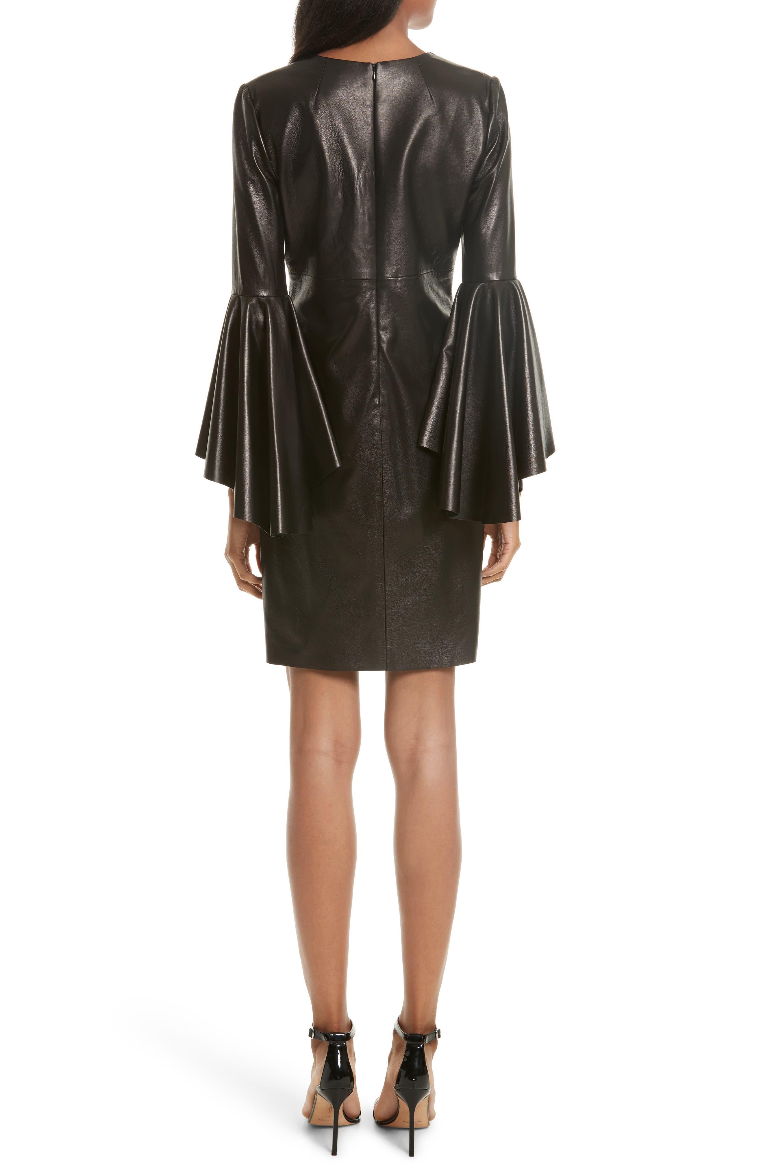 Bell Sleeve Leather Dress,                             Alternate thumbnail 2, color,                             Black