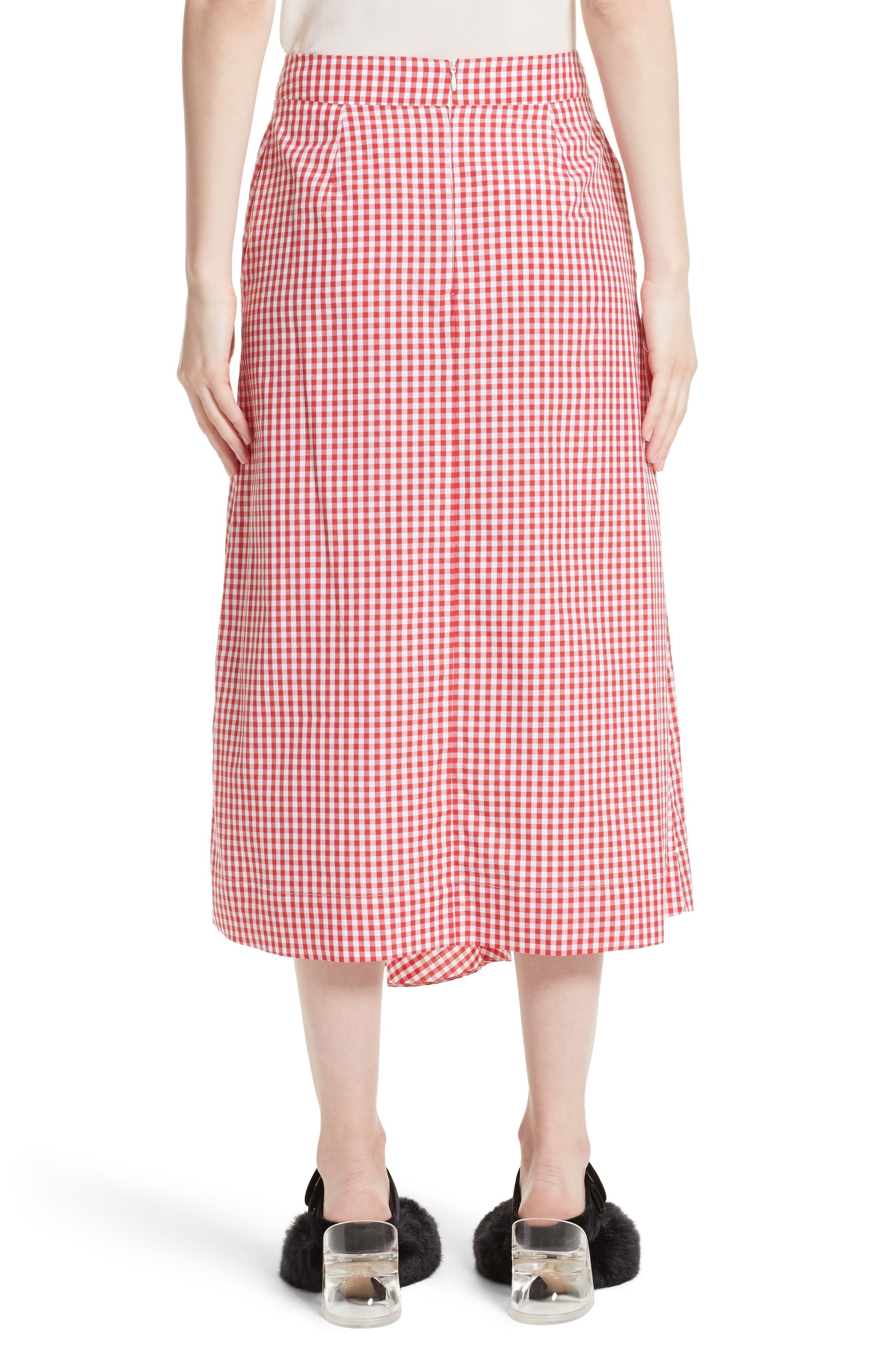 Three-Panel Gingham Midi Skirt,                             Alternate thumbnail 2, color,                             Red/ White