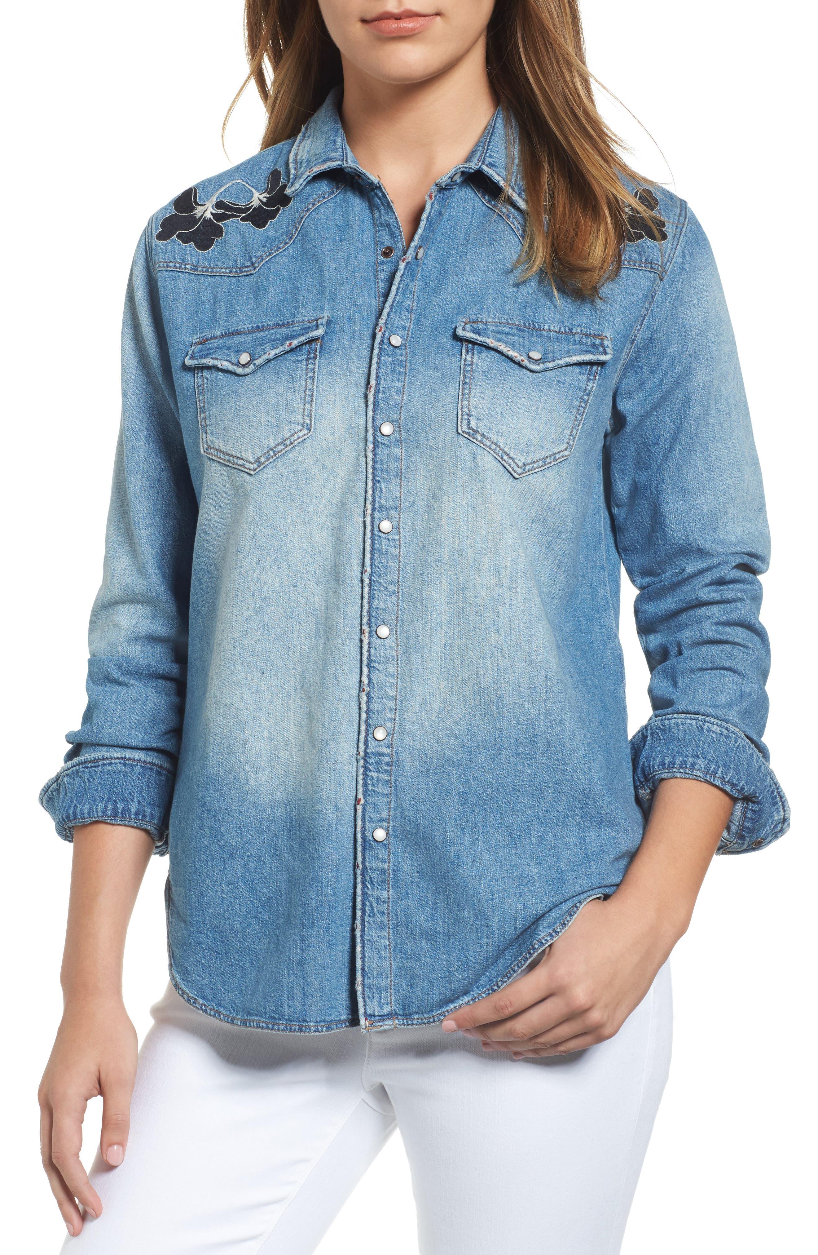 Main Image - Mavi Jeans Vintage Rose Embroidered Denim Shirt