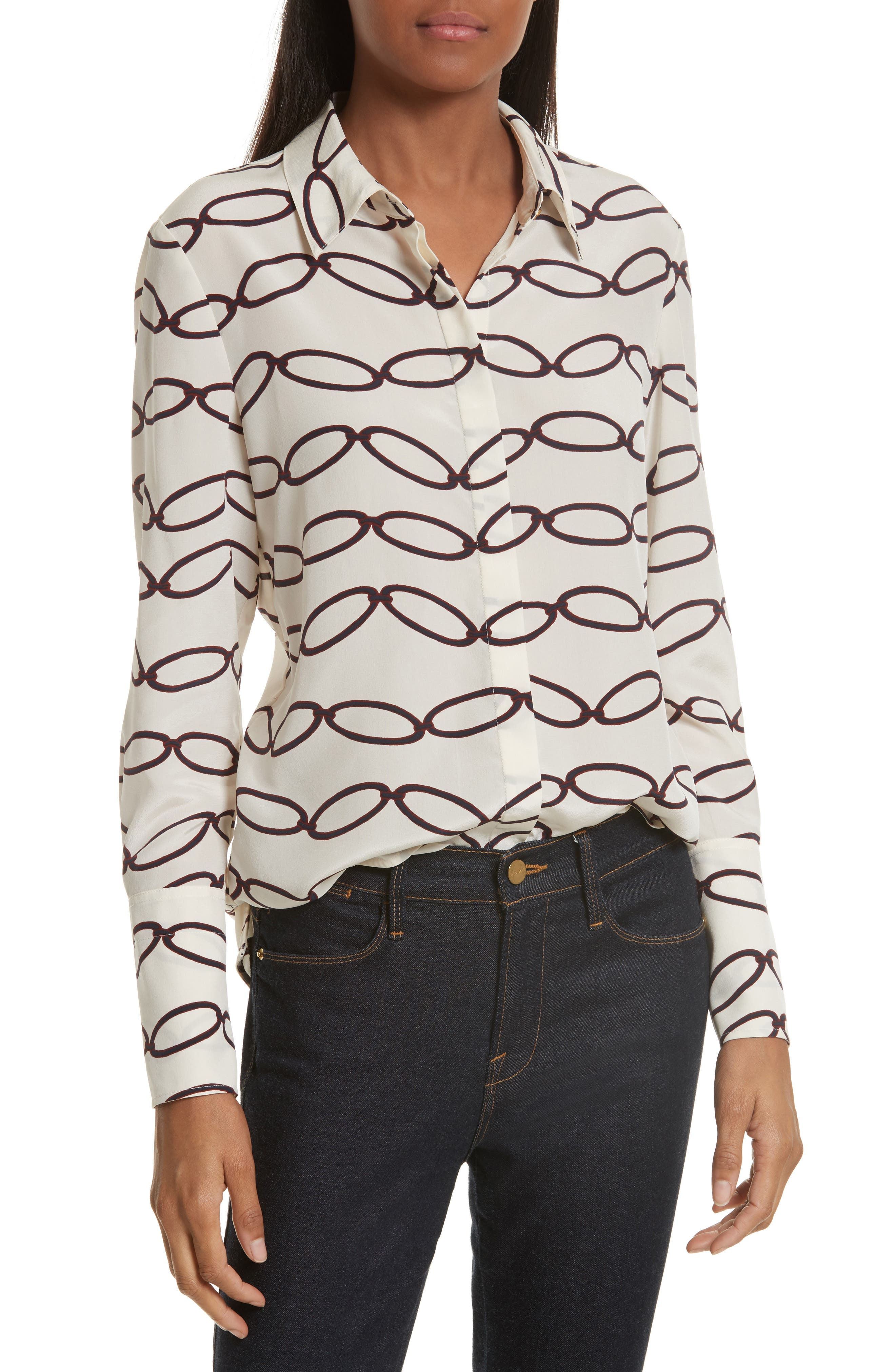 Erica Print Silk Shirt,                         Main,                         color, Elliptical Link - Combo A