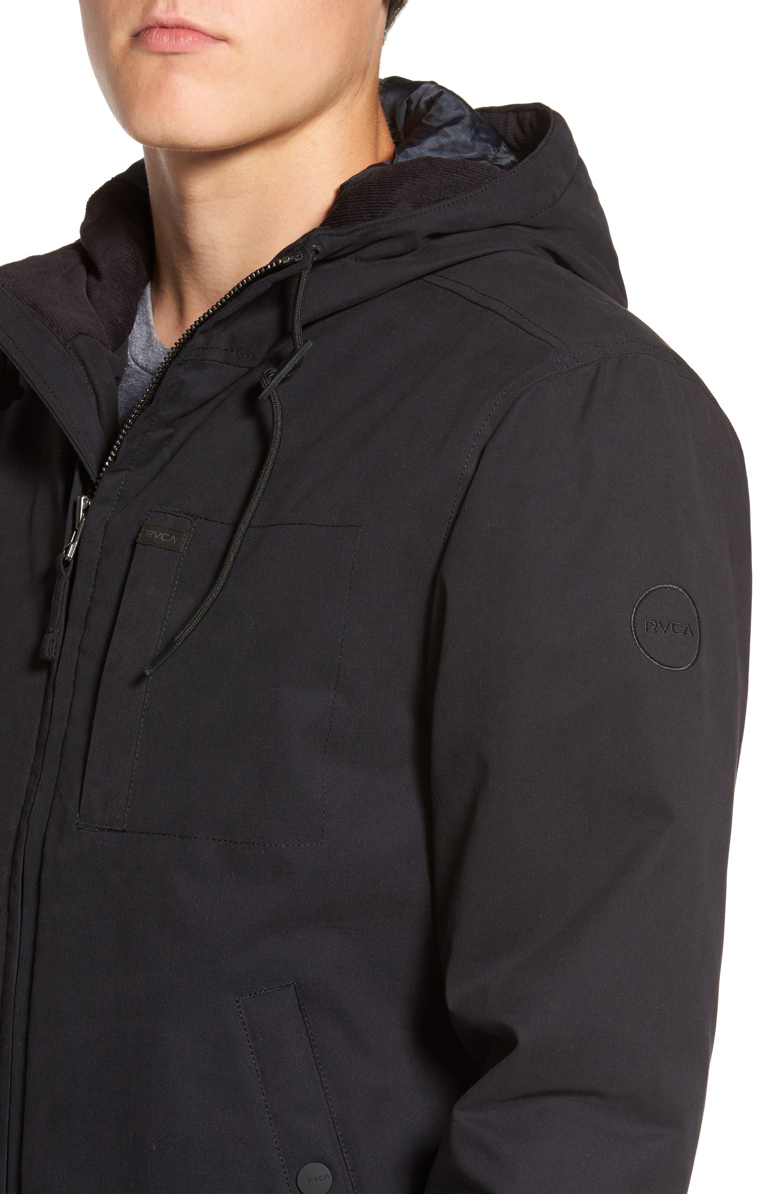 Hooded Bomber Jacket,                             Alternate thumbnail 4, color,                             Black