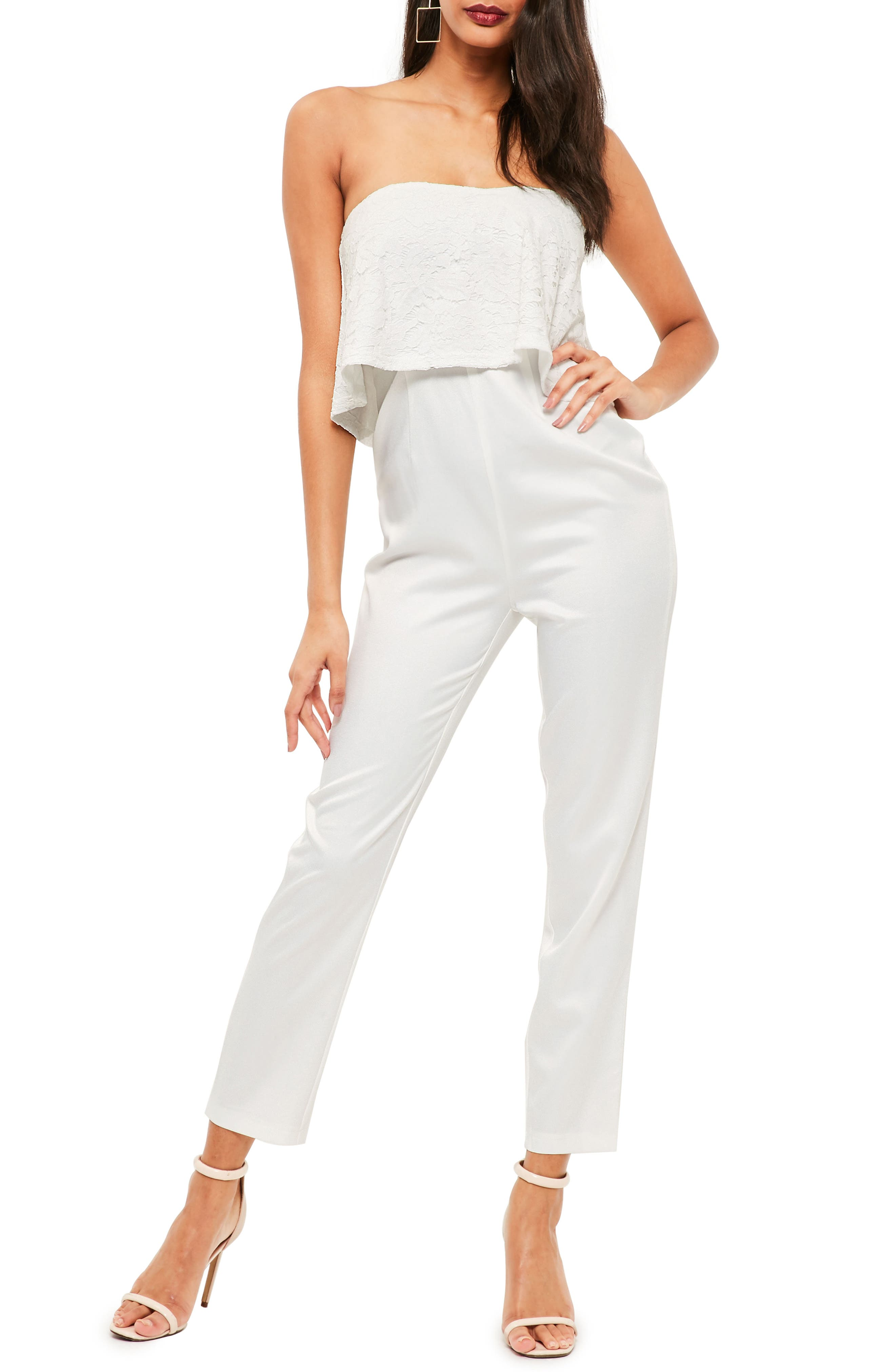Lace Ruffle Strapless Jumpsuit,                             Main thumbnail 1, color,                             White