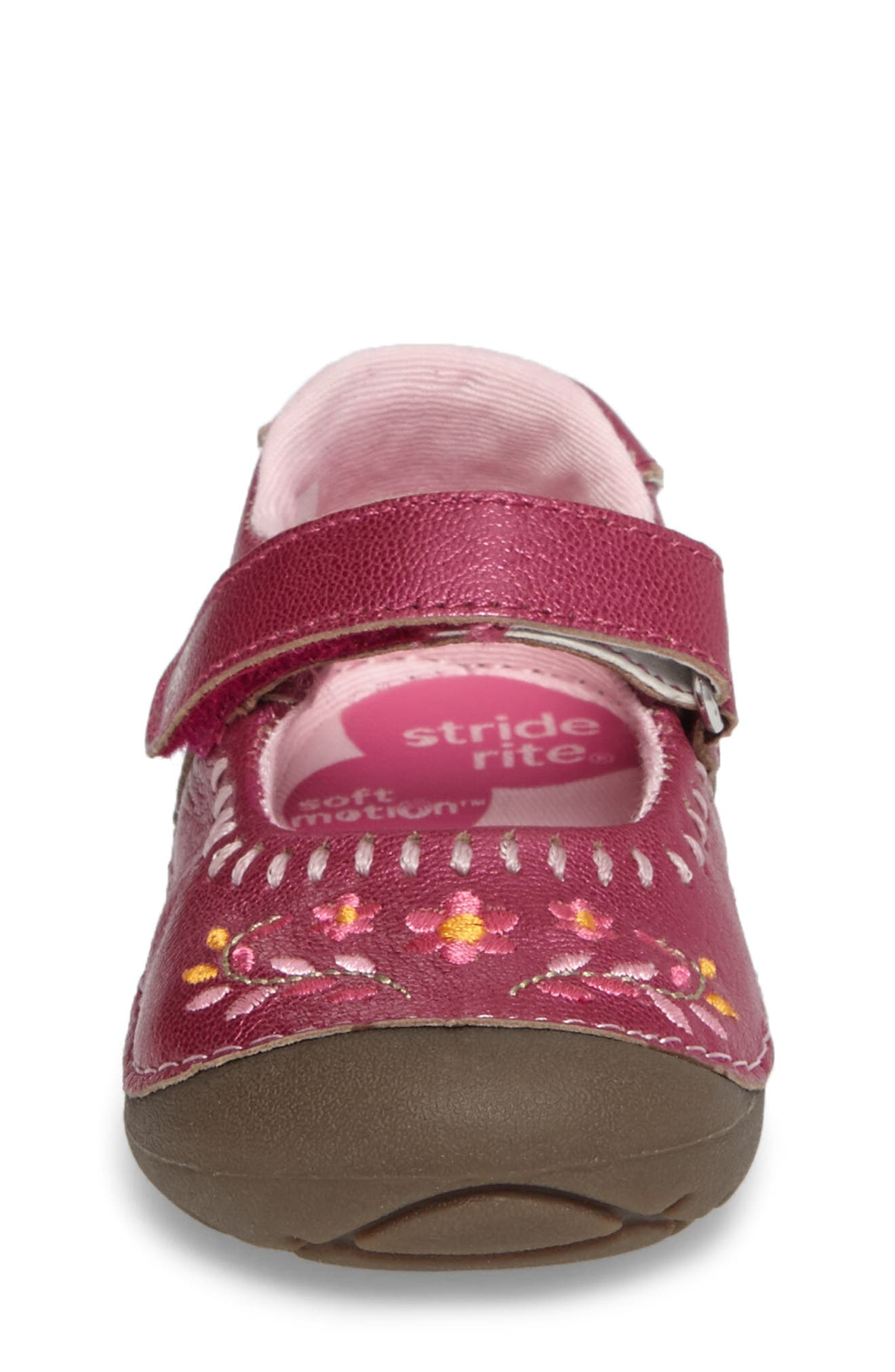 Alternate Image 4  - Stride Rite Atley Flower Embroidered Mary Jane (Baby & Walker)