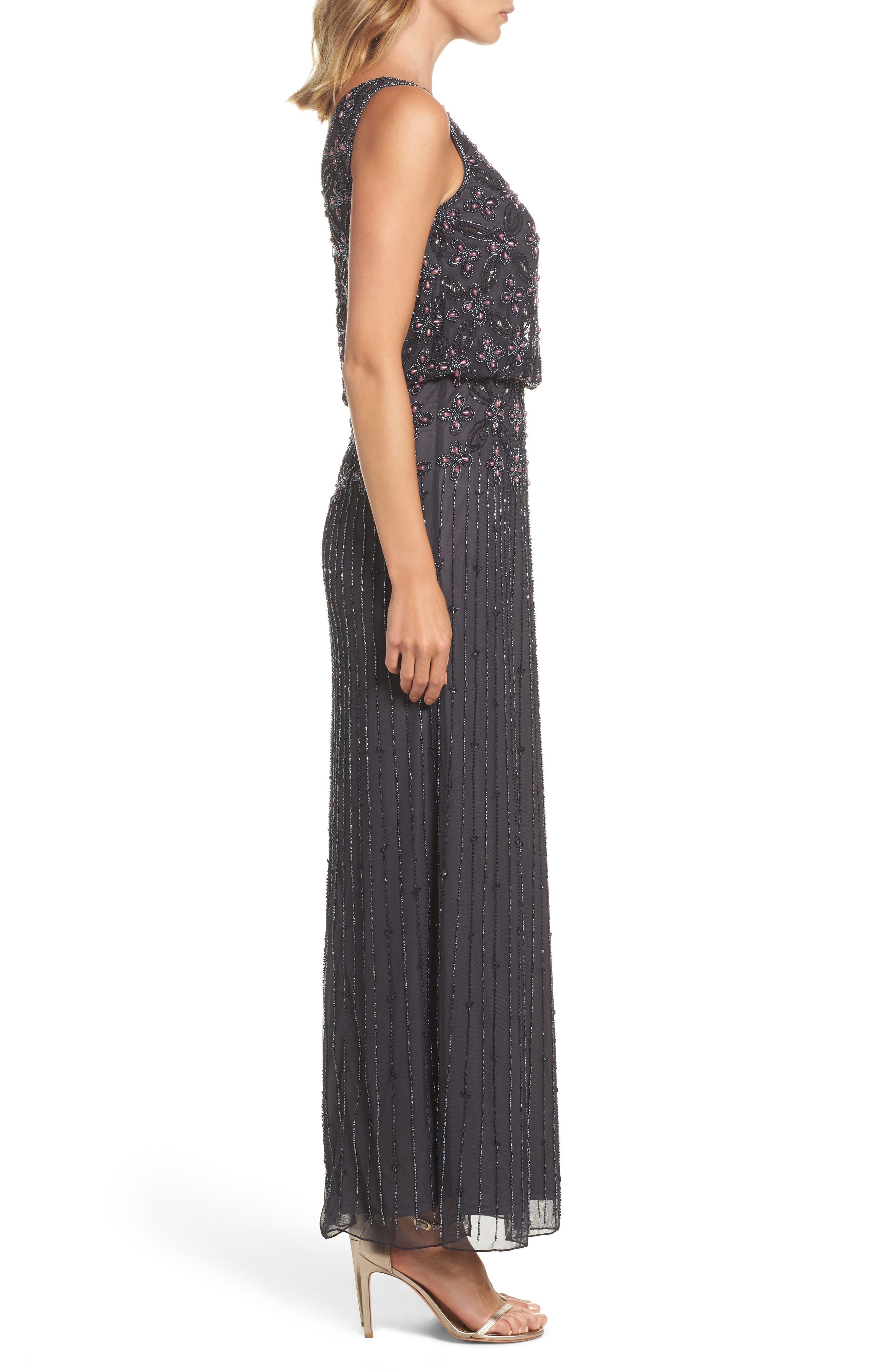 Alternate Image 3  - Pisarro Nights Beaded Blouson Gown (Regular & Petite)