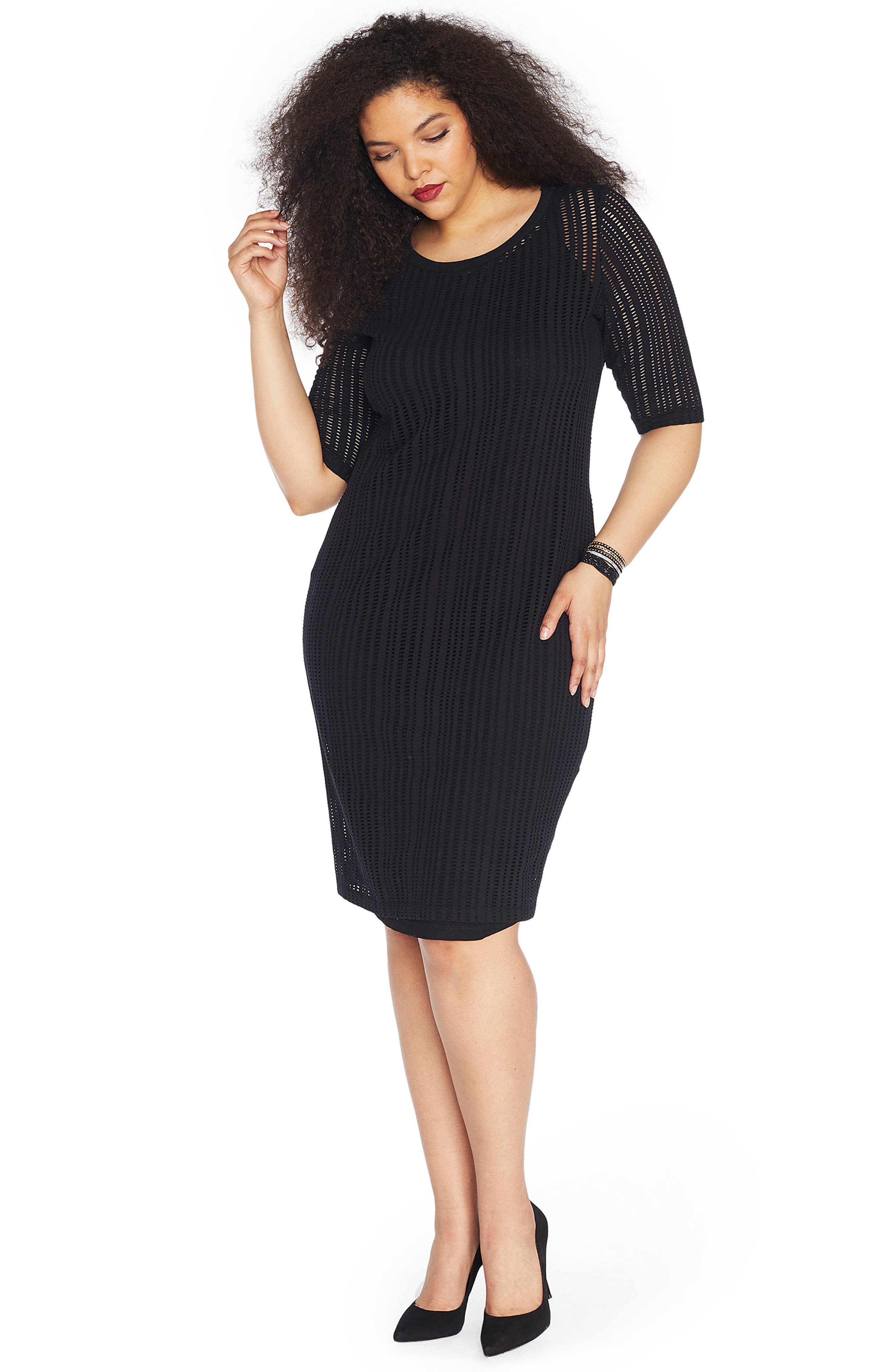 Alternate Image 2  - REBEL WILSON X ANGELS Stretch Jacquard Sheath Dress (Plus Size)