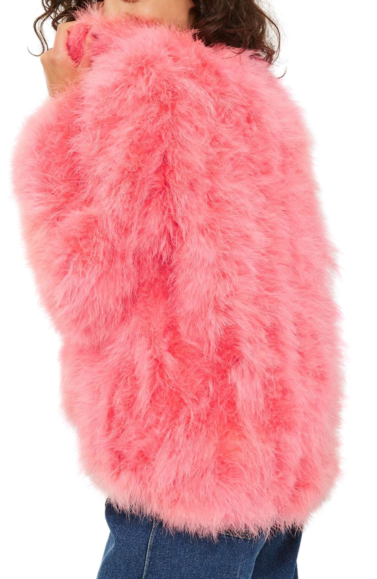 Marabou Feather Jacket,                             Alternate thumbnail 2, color,                             Pink