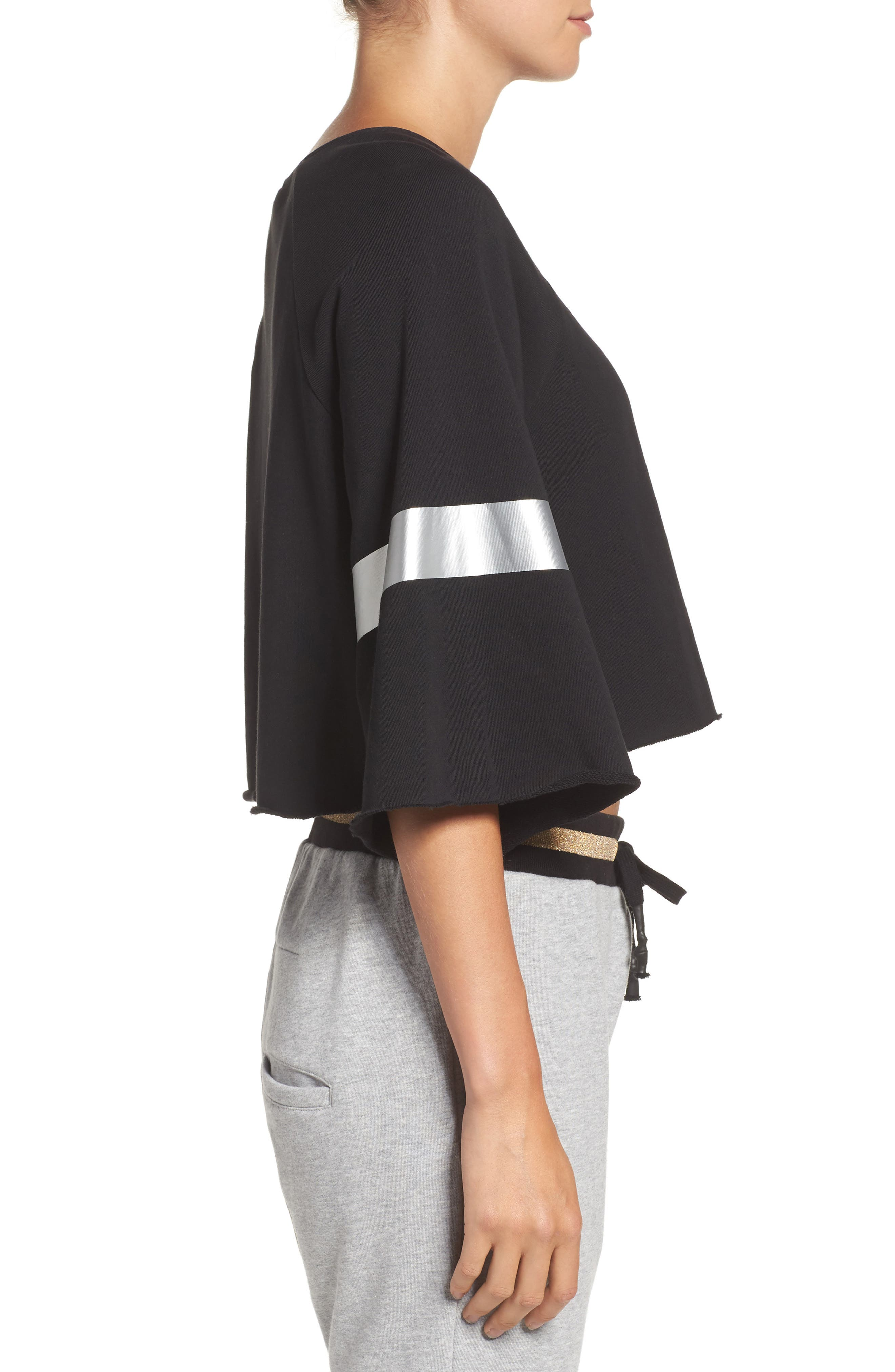 Power Hitter Crop Sweatshirt,                             Alternate thumbnail 3, color,                             Black