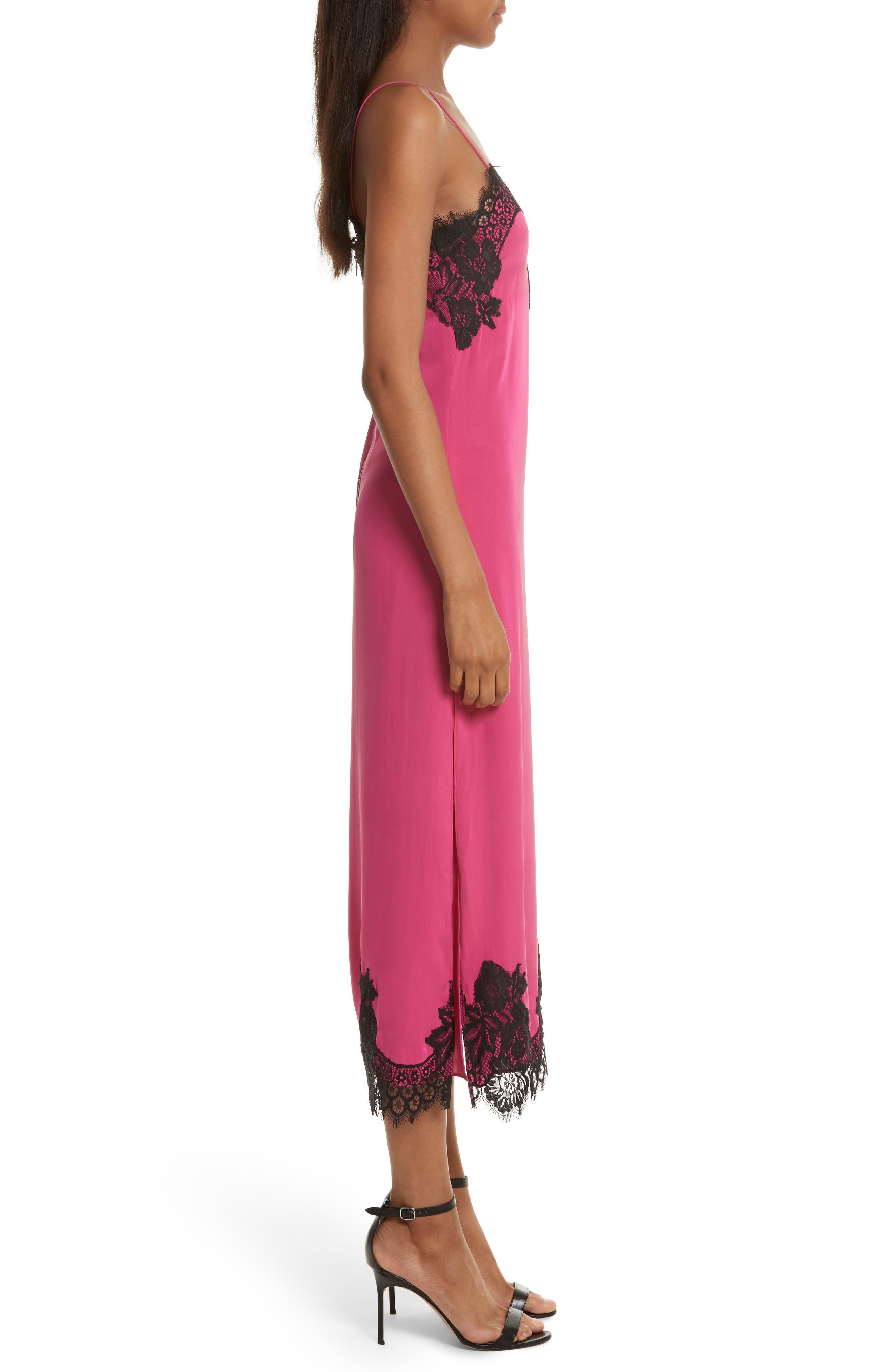 Alternate Image 3  - Alice + Olivia Luna Lace Trim Stretch Silk Slipdress