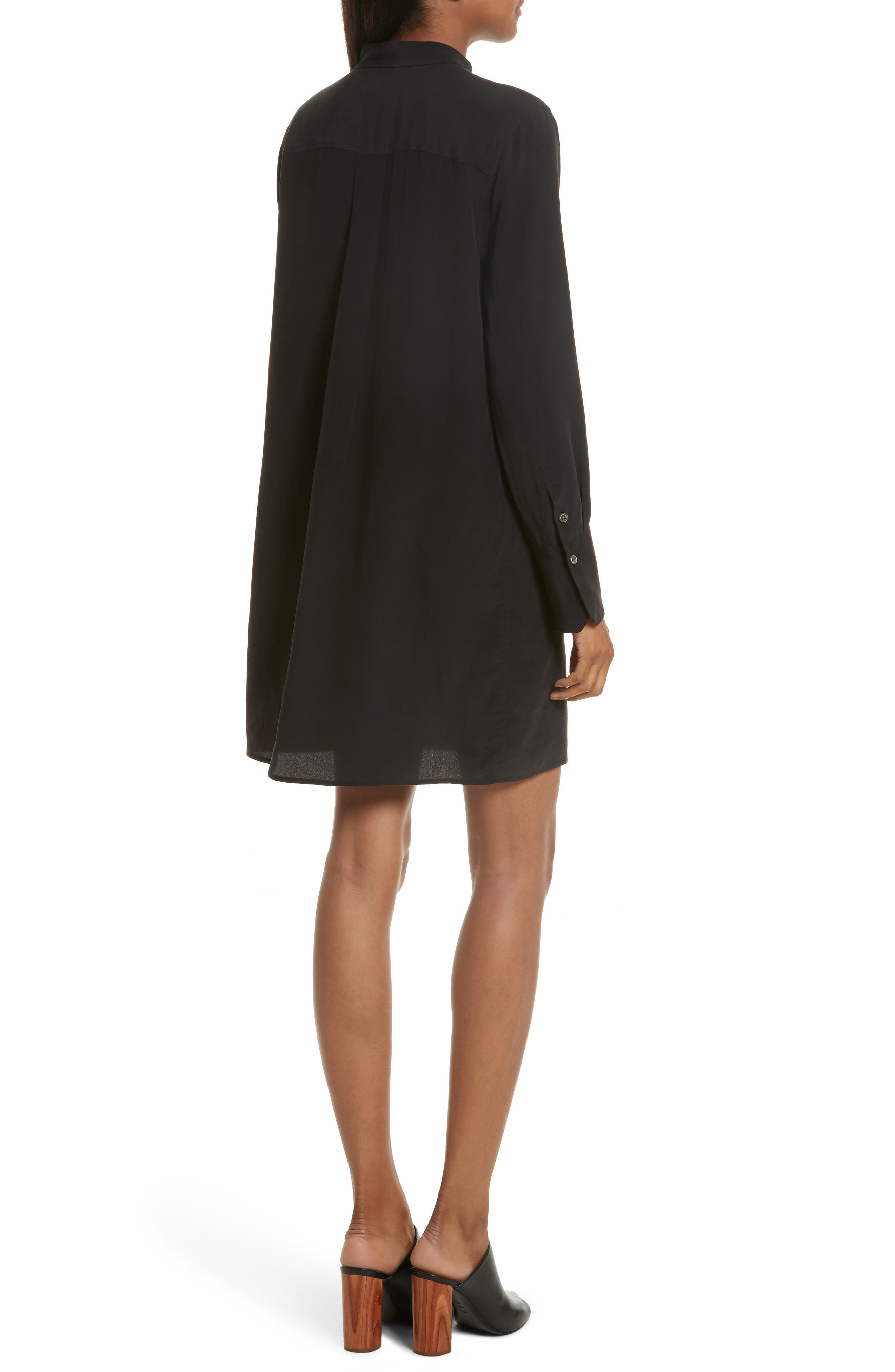 Cadence Silk Shift Dress,                             Alternate thumbnail 2, color,                             True Black