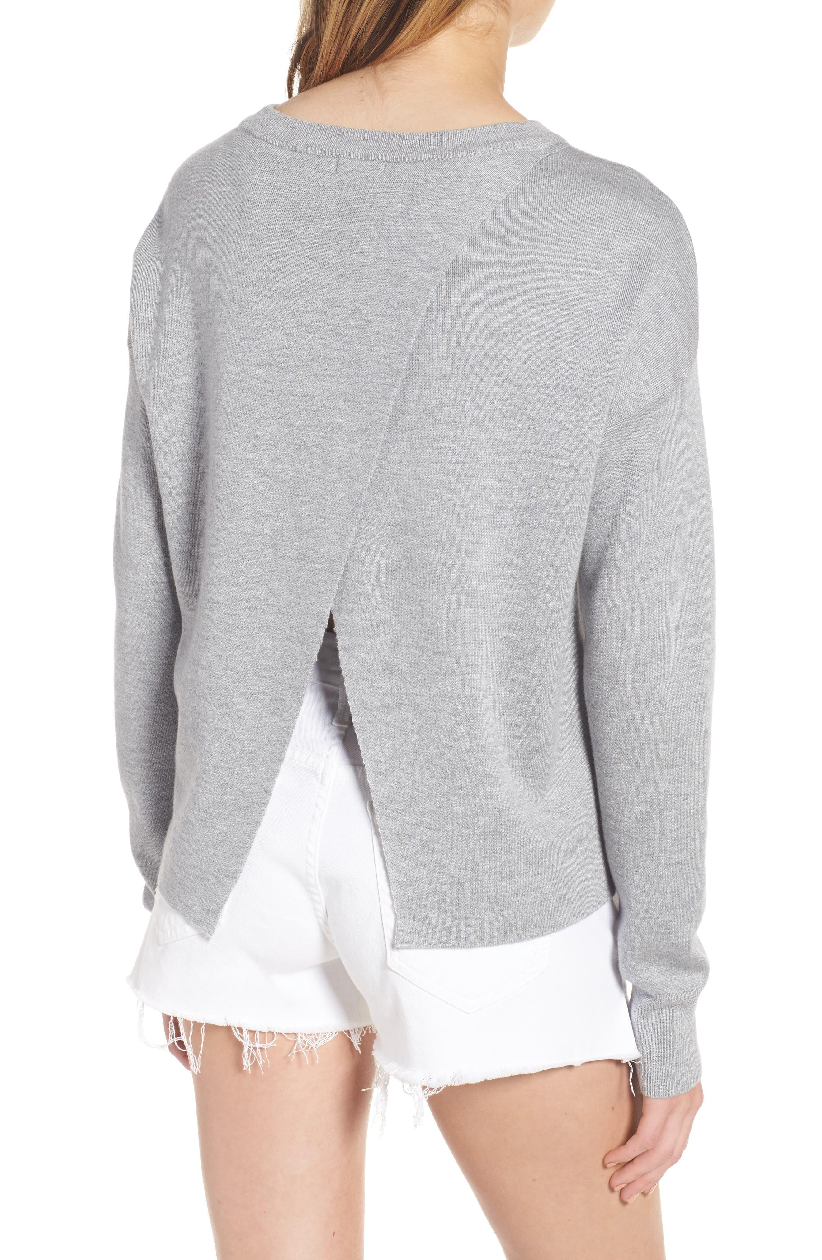 Devon Crossback Sweater,                             Alternate thumbnail 2, color,                             Light Heather Grey