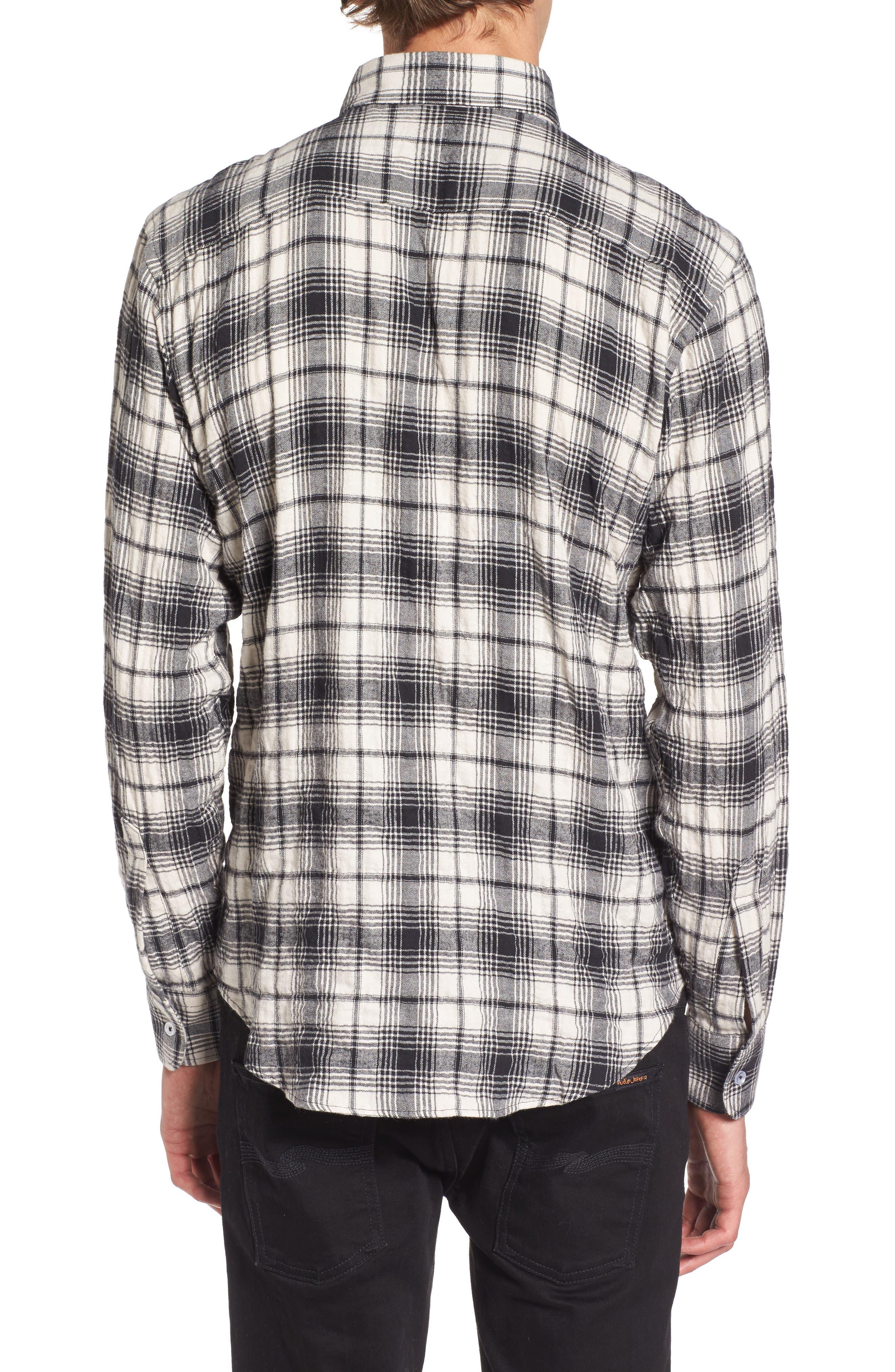 Regular Fit Plaid Flannel Sport Shirt,                             Alternate thumbnail 2, color,                             White