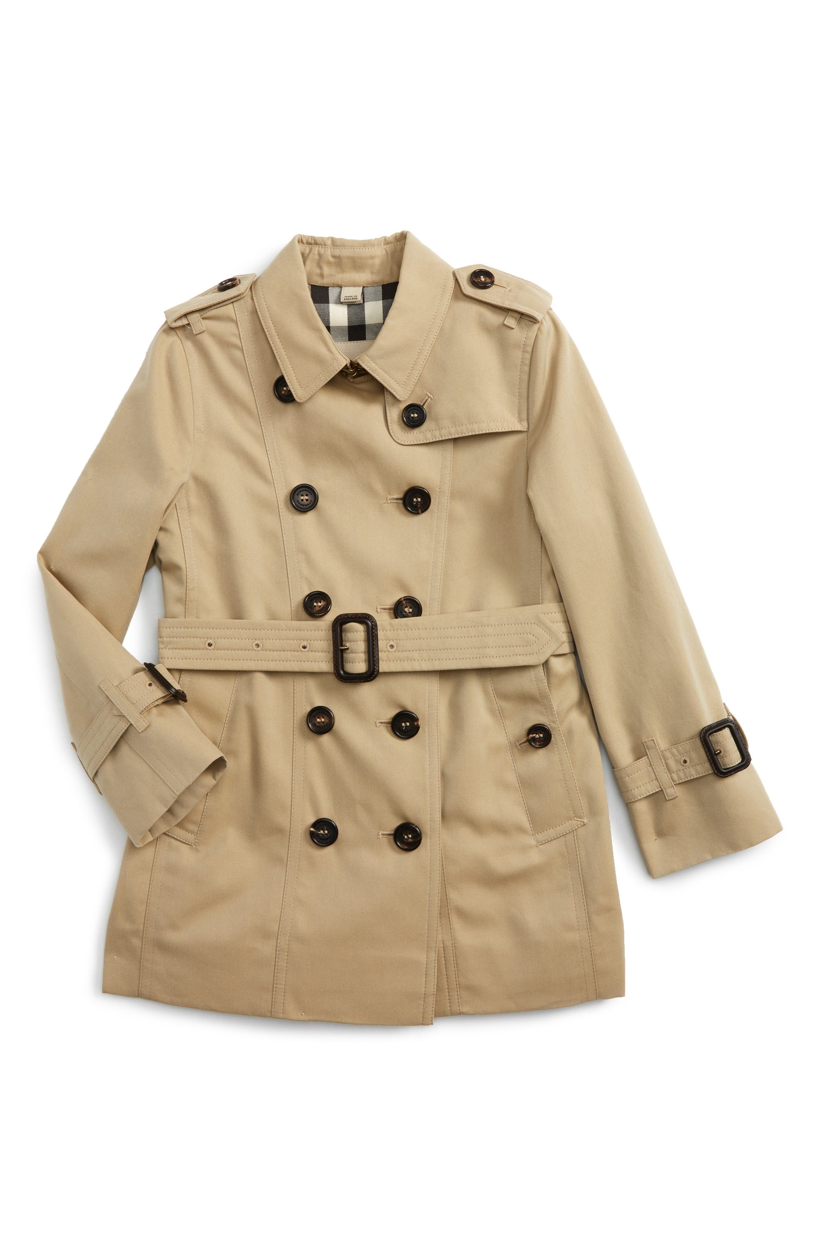 Main Image - Burberry Sandringham Double Breasted Trench Coat (Little Girls & Big Girls)