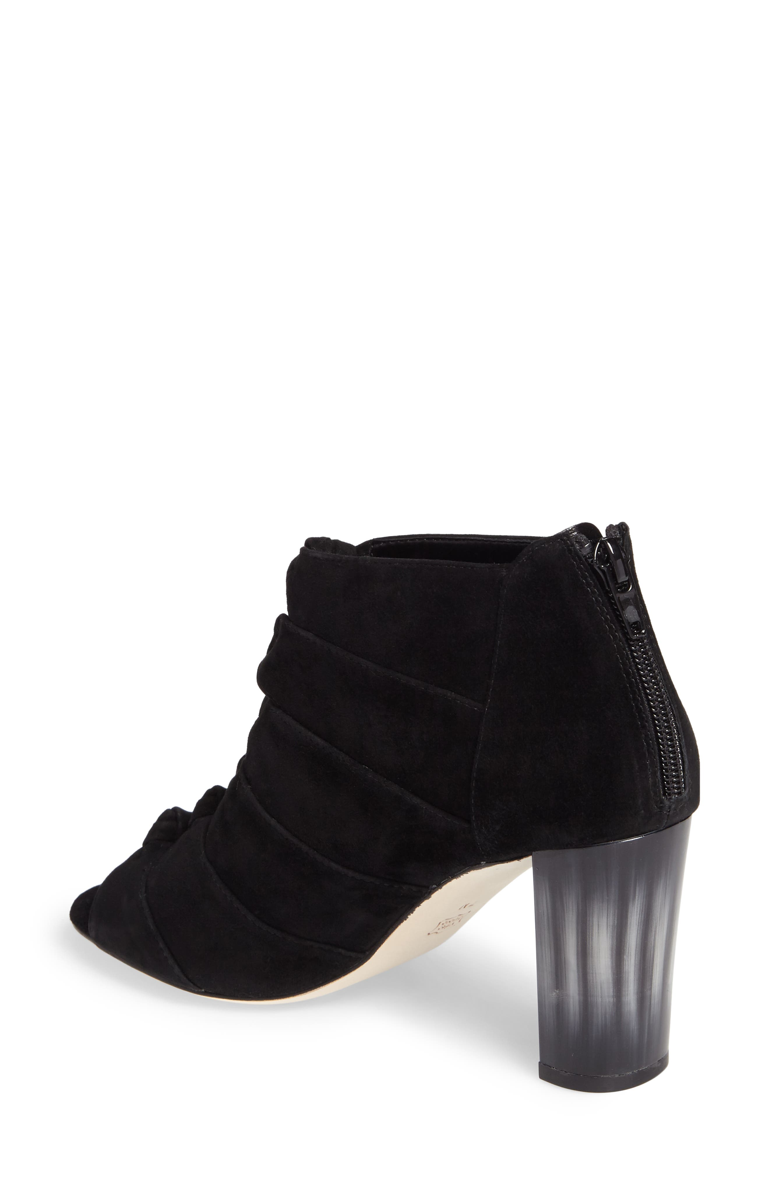Betsy Open Toe Bootie,                             Alternate thumbnail 2, color,                             Black Suede