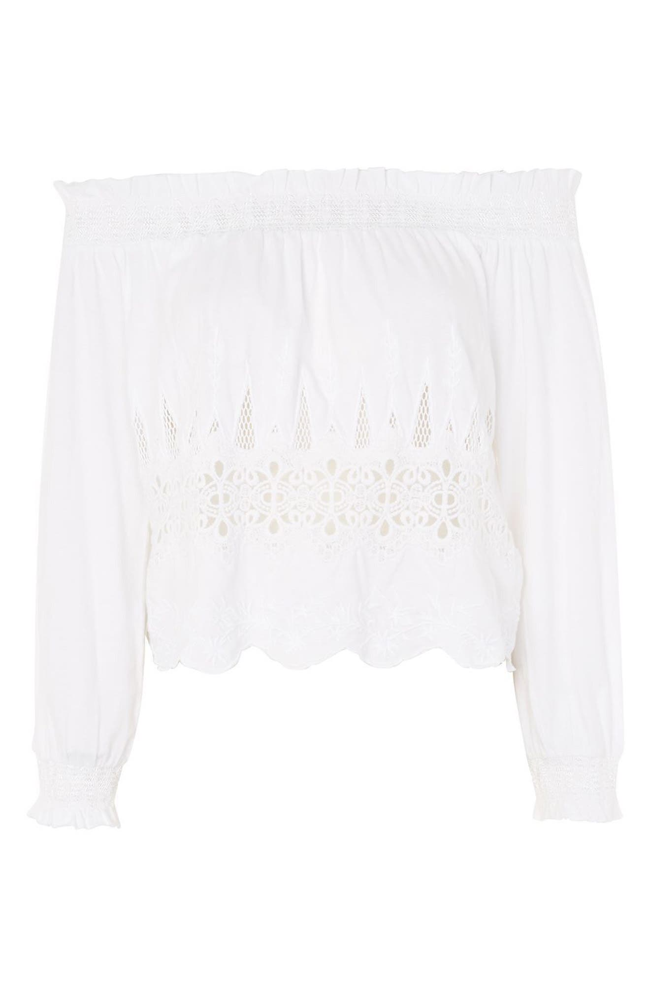 Cutwork Off the Shoulder Top,                             Alternate thumbnail 4, color,                             White