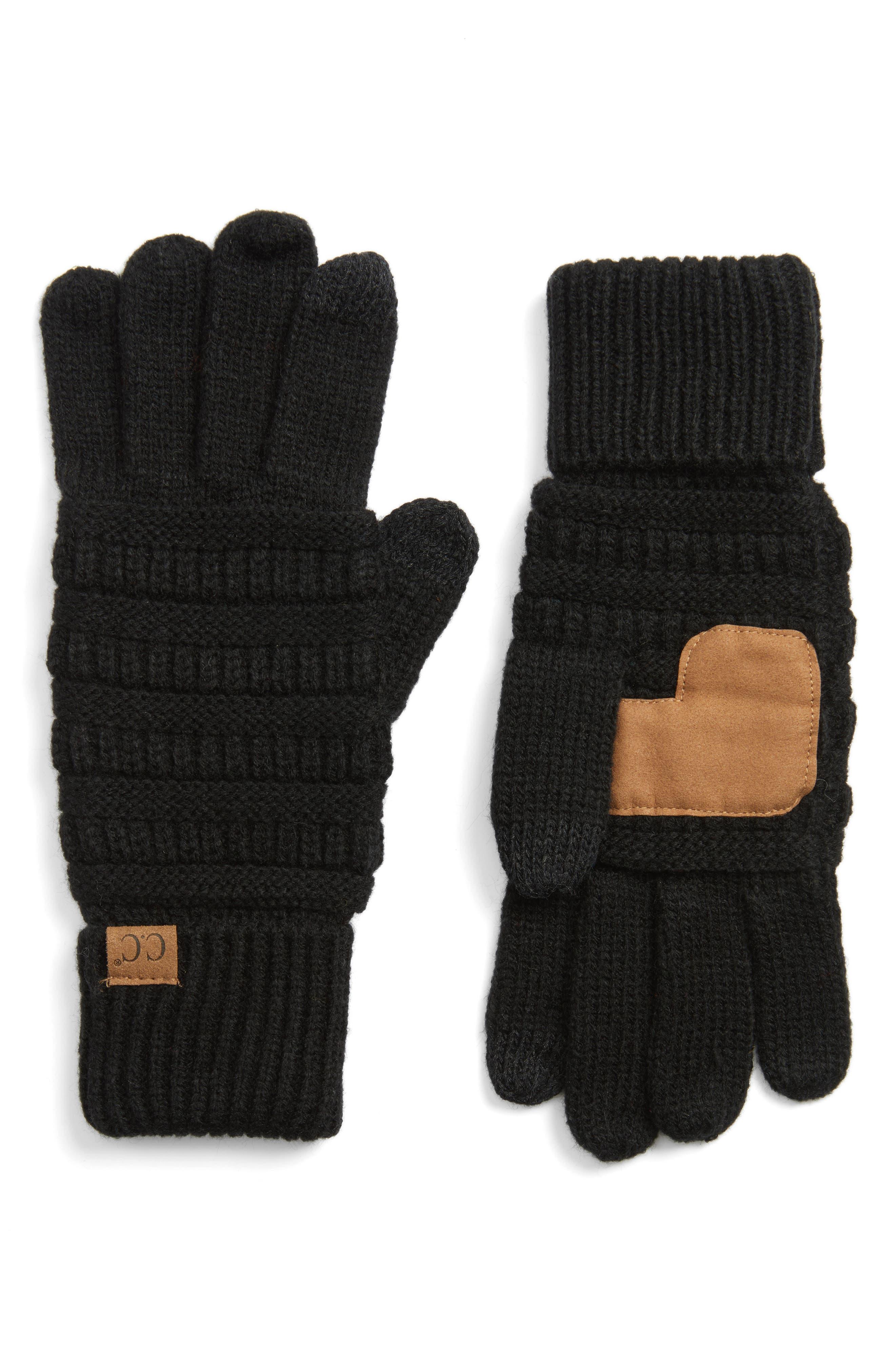 Rib Knit Tech Gloves,                         Main,                         color, Black