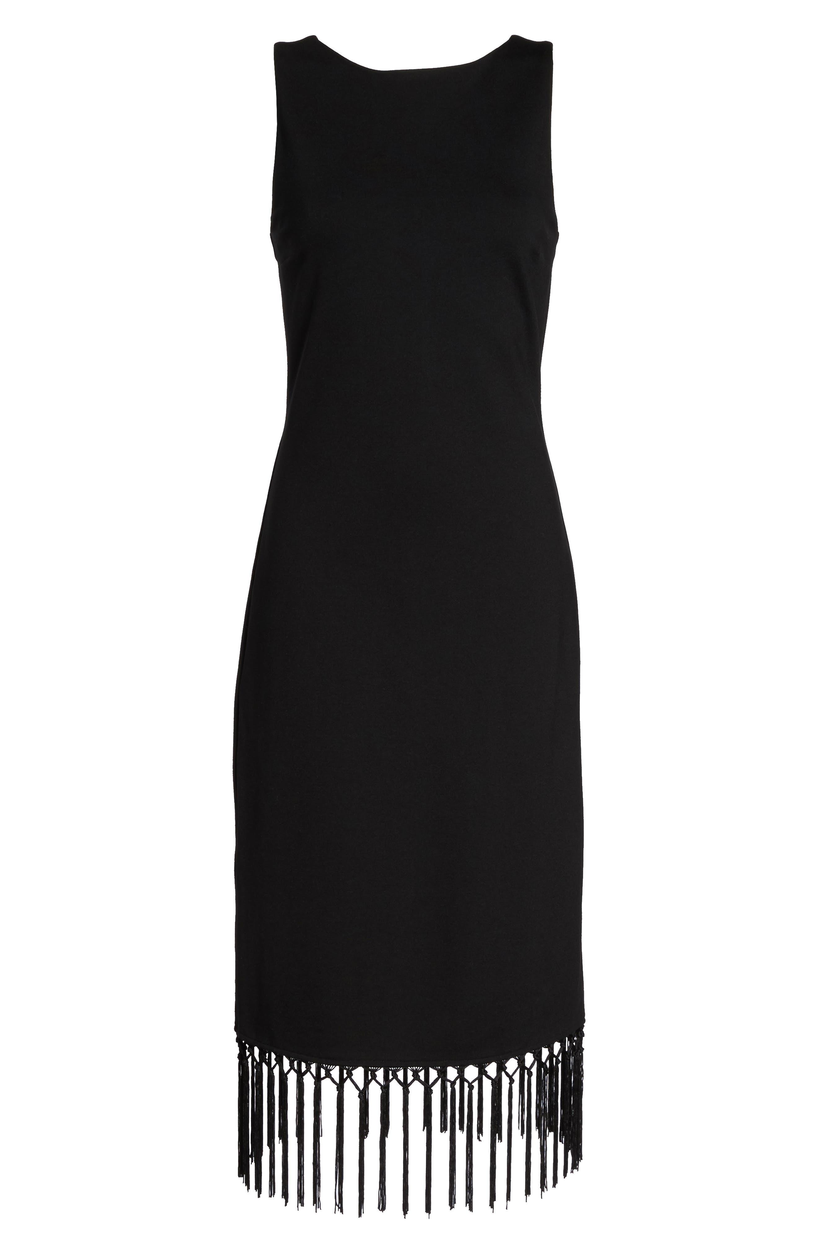 Tassel Midi Dress,                             Alternate thumbnail 6, color,                             Black