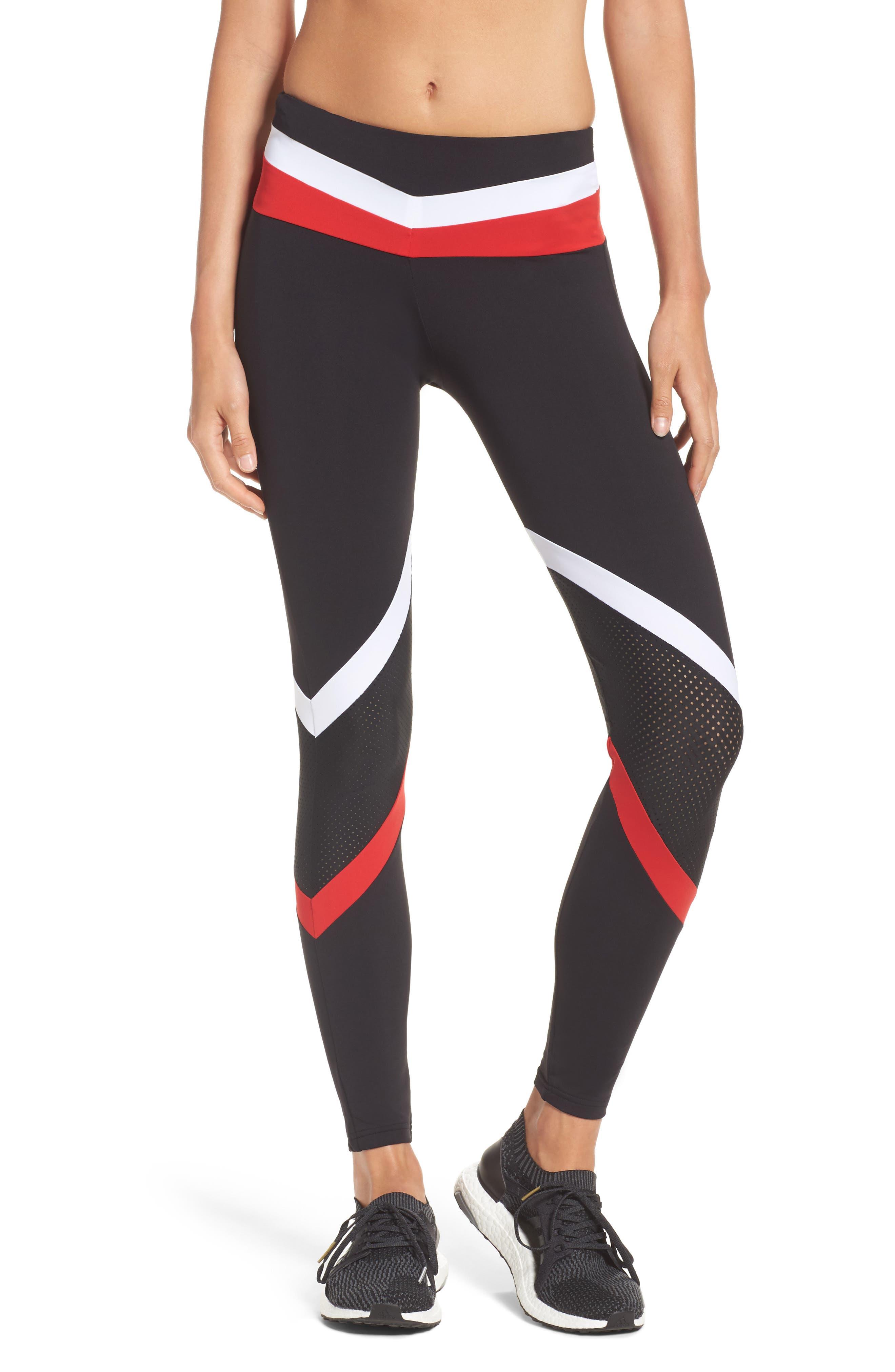BoomBoom Athletica Leggings,                         Main,                         color, Black/ White/ Red