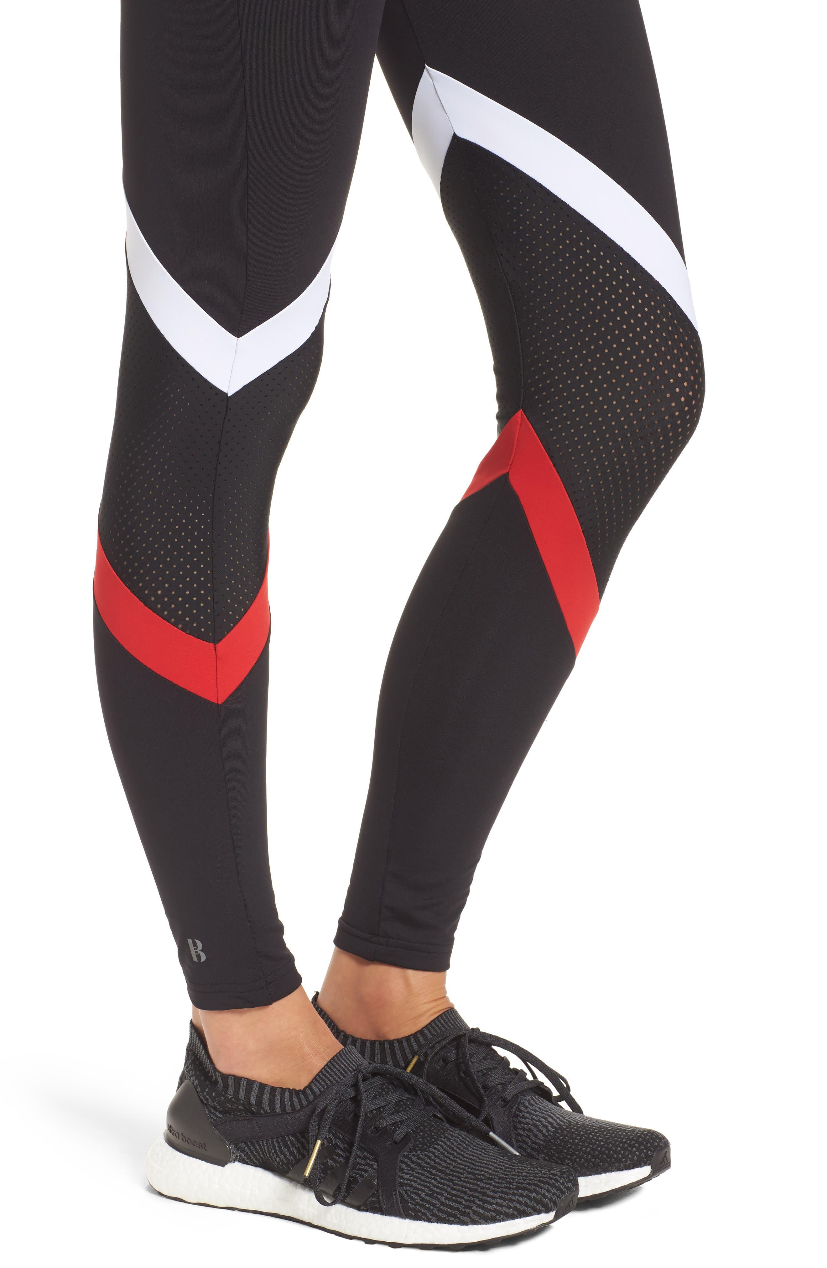 BoomBoom Athletica Leggings,                             Alternate thumbnail 4, color,                             Black/ White/ Red