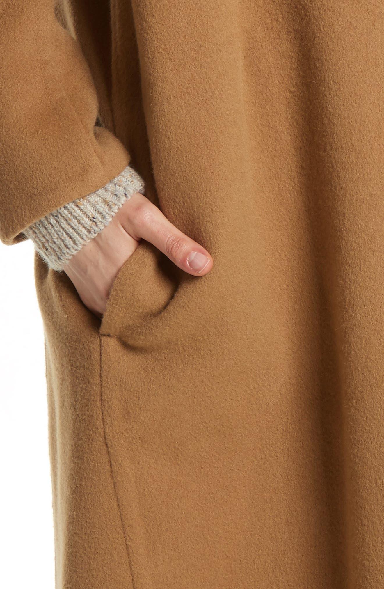 High Collar Long Wool Blend Coat,                             Alternate thumbnail 4, color,                             Camel