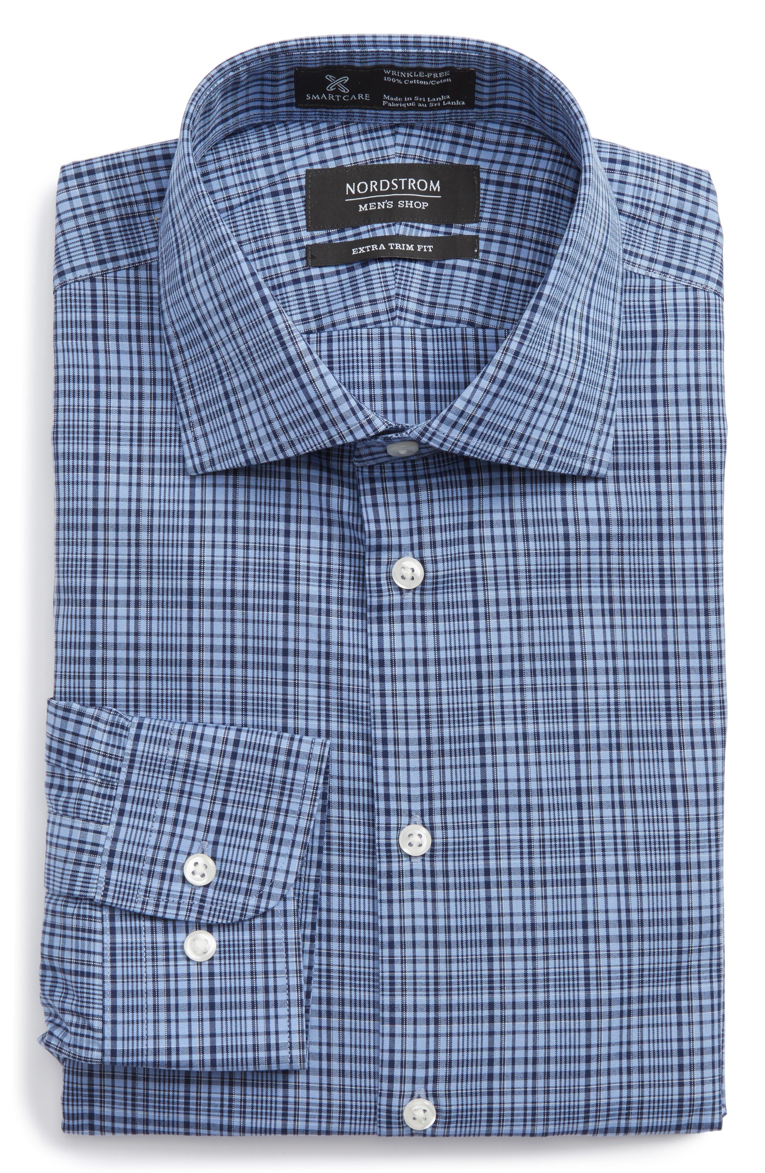 Smartcare<sup>™</sup> Extra Trim Fit Check Dress Shirt,                         Main,                         color, Blue Medieval