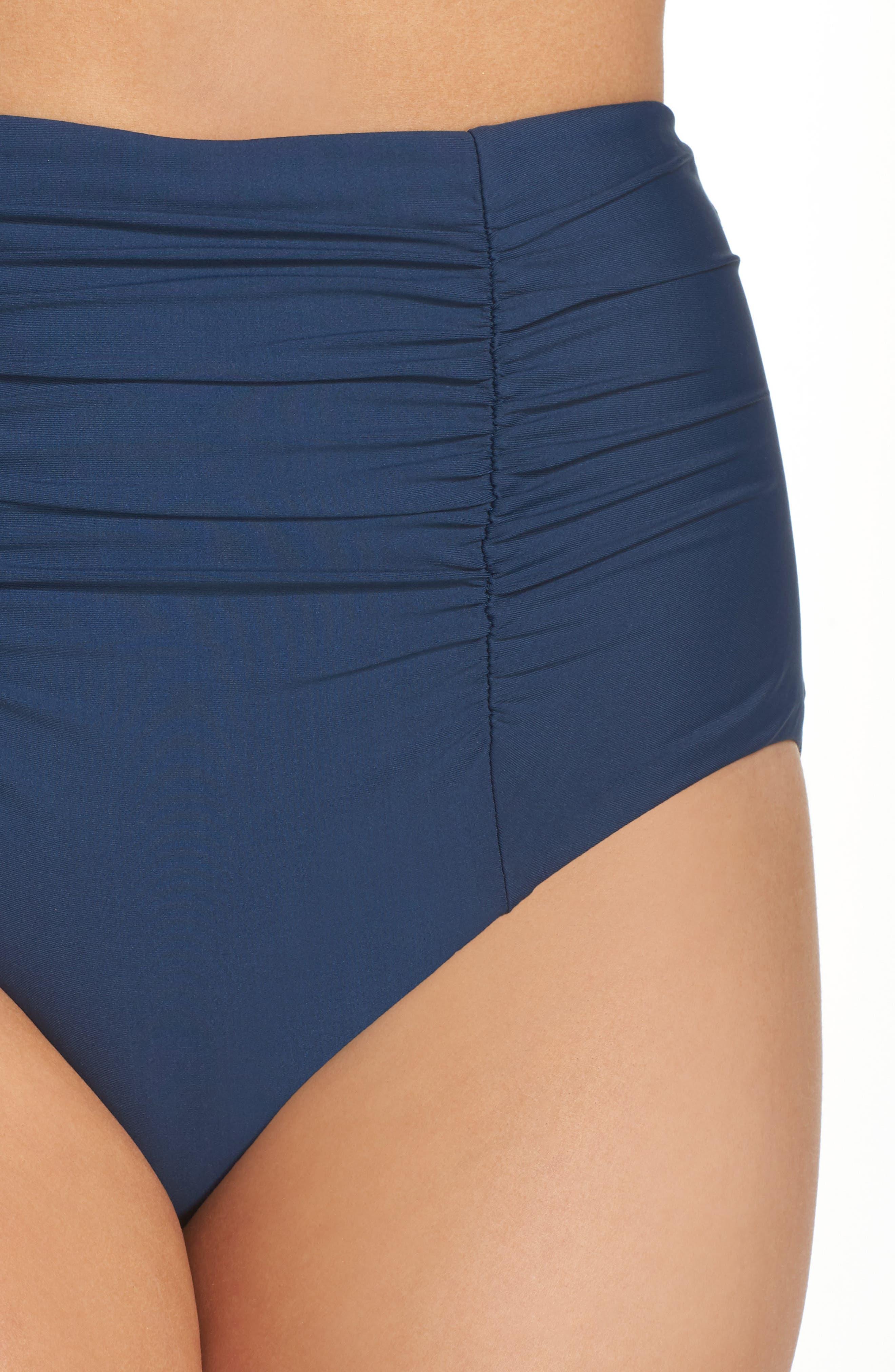 Color Code High Waist Bikini Bottoms,                             Alternate thumbnail 4, color,                             Indigo
