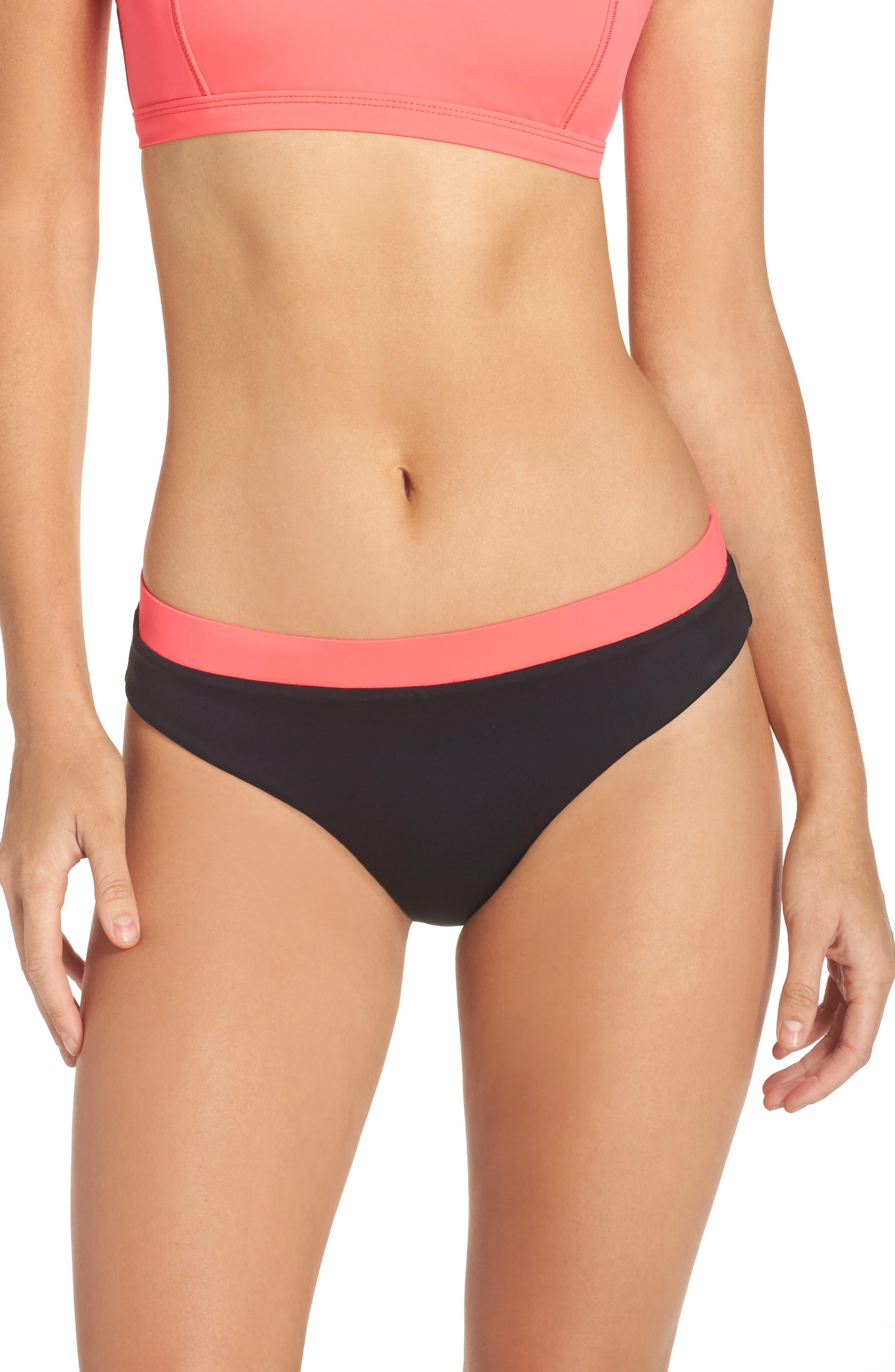 Reversible Bikini Bottoms,                         Main,                         color, Red Hibiscus