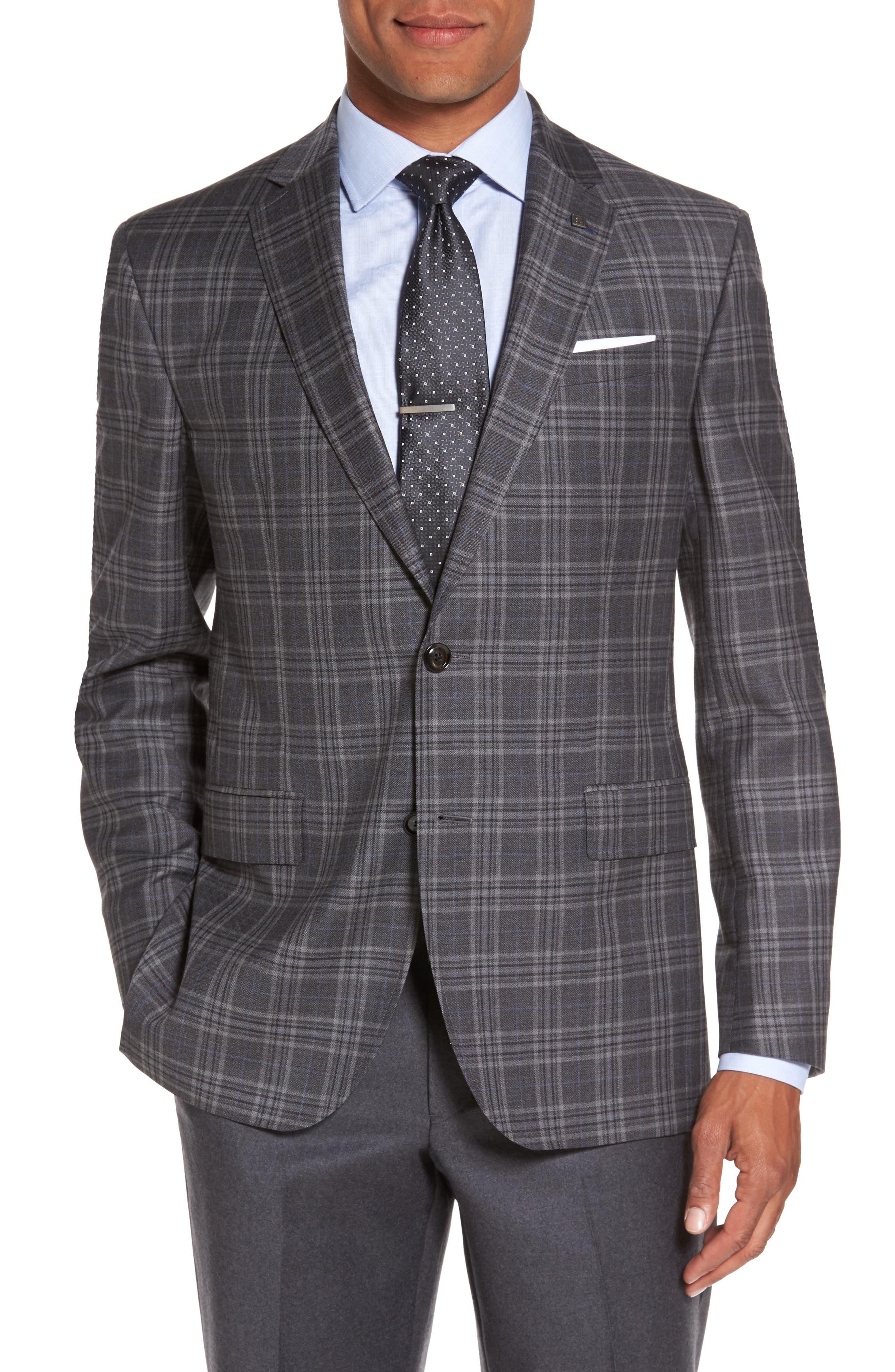 Alternate Image 1 Selected - Ted Baker London Jay Trim Fit Plaid Wool Sport Coat