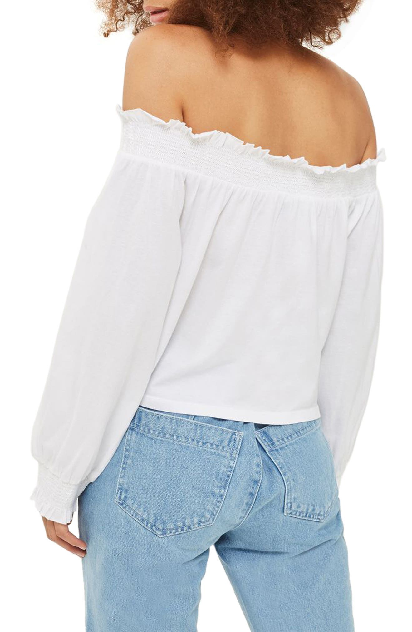 Cutwork Off the Shoulder Top,                             Alternate thumbnail 2, color,                             White