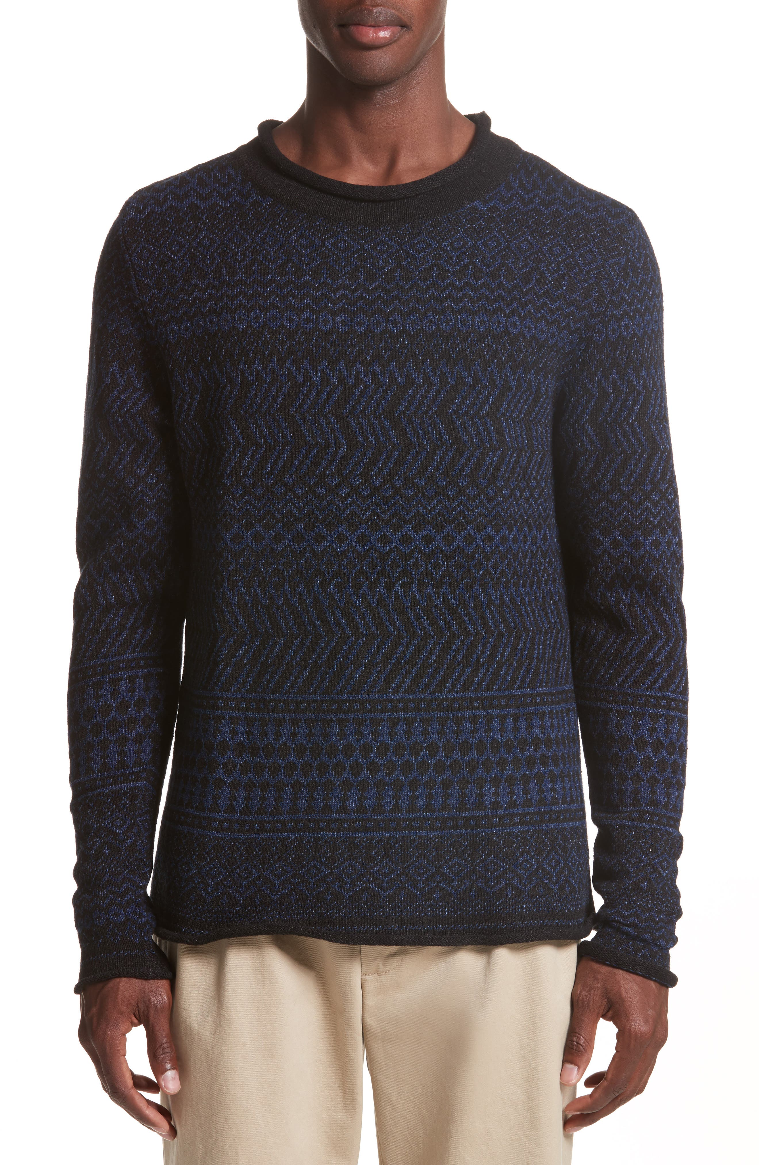 Fair Isle Roll Neck Sweater,                         Main,                         color, Indigo