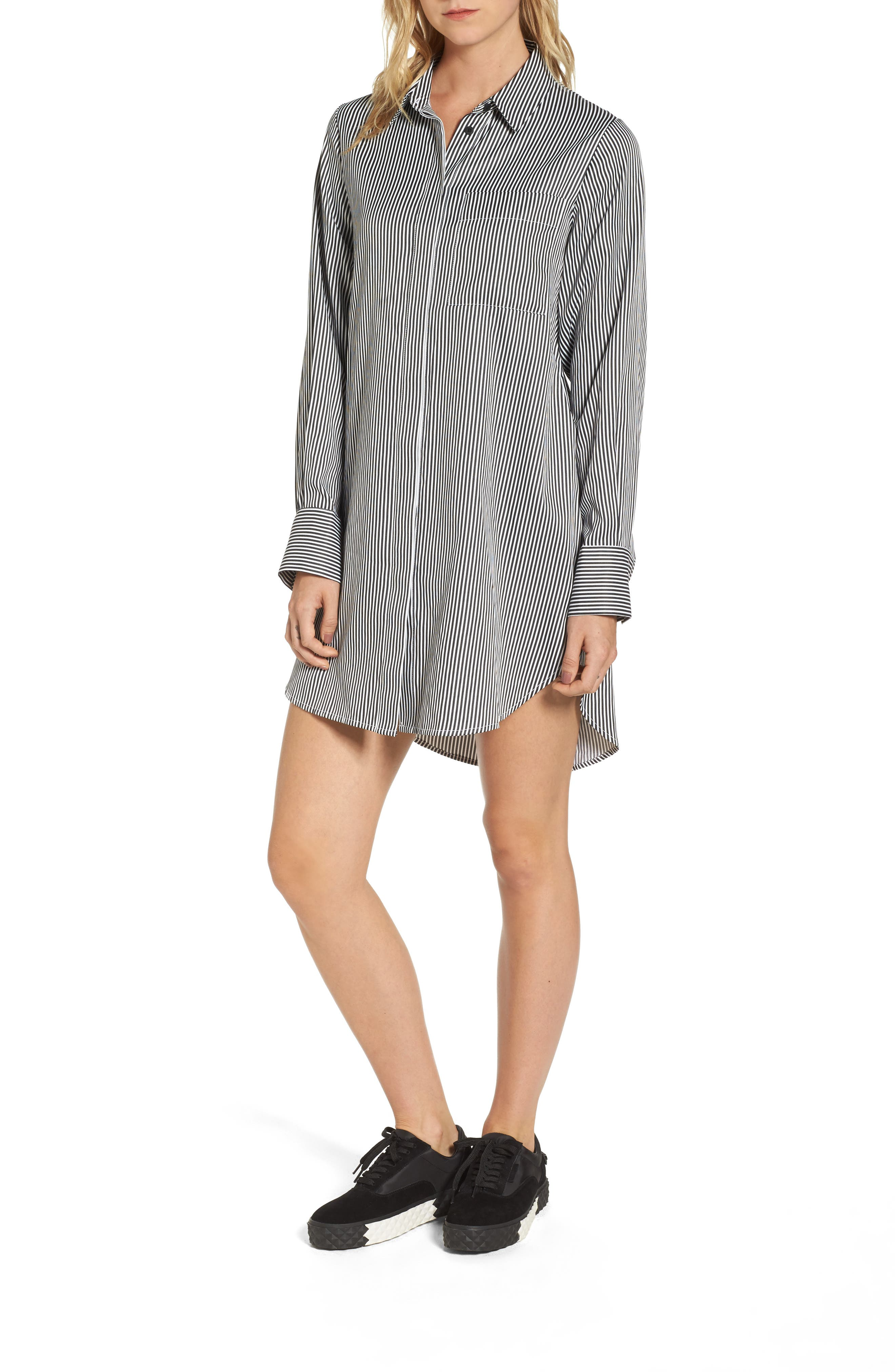 Lace-Up Back Shirtdress,                         Main,                         color, Black/ White