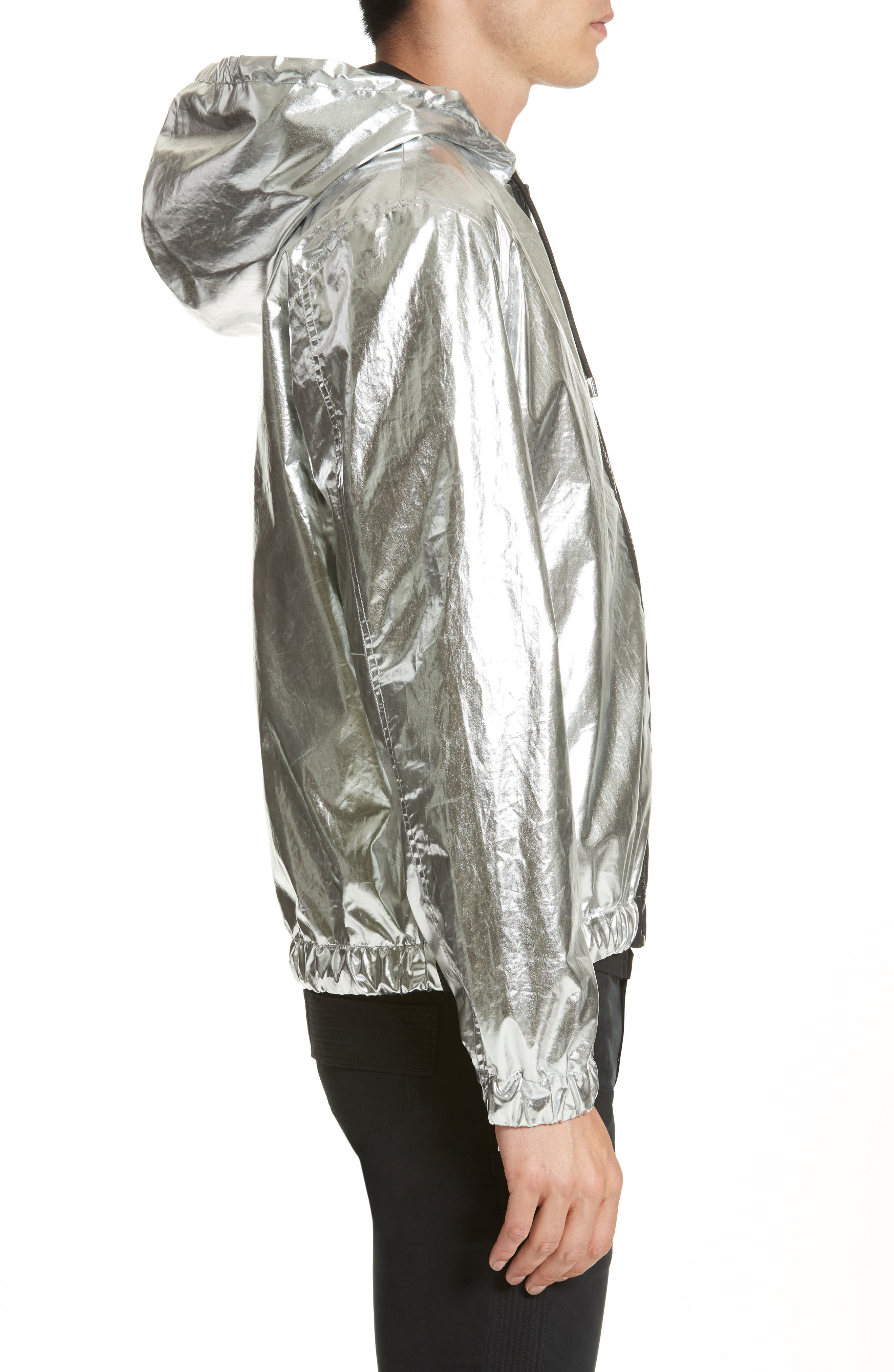 Zip Front Foil Hoodie,                             Alternate thumbnail 3, color,                             Nickel