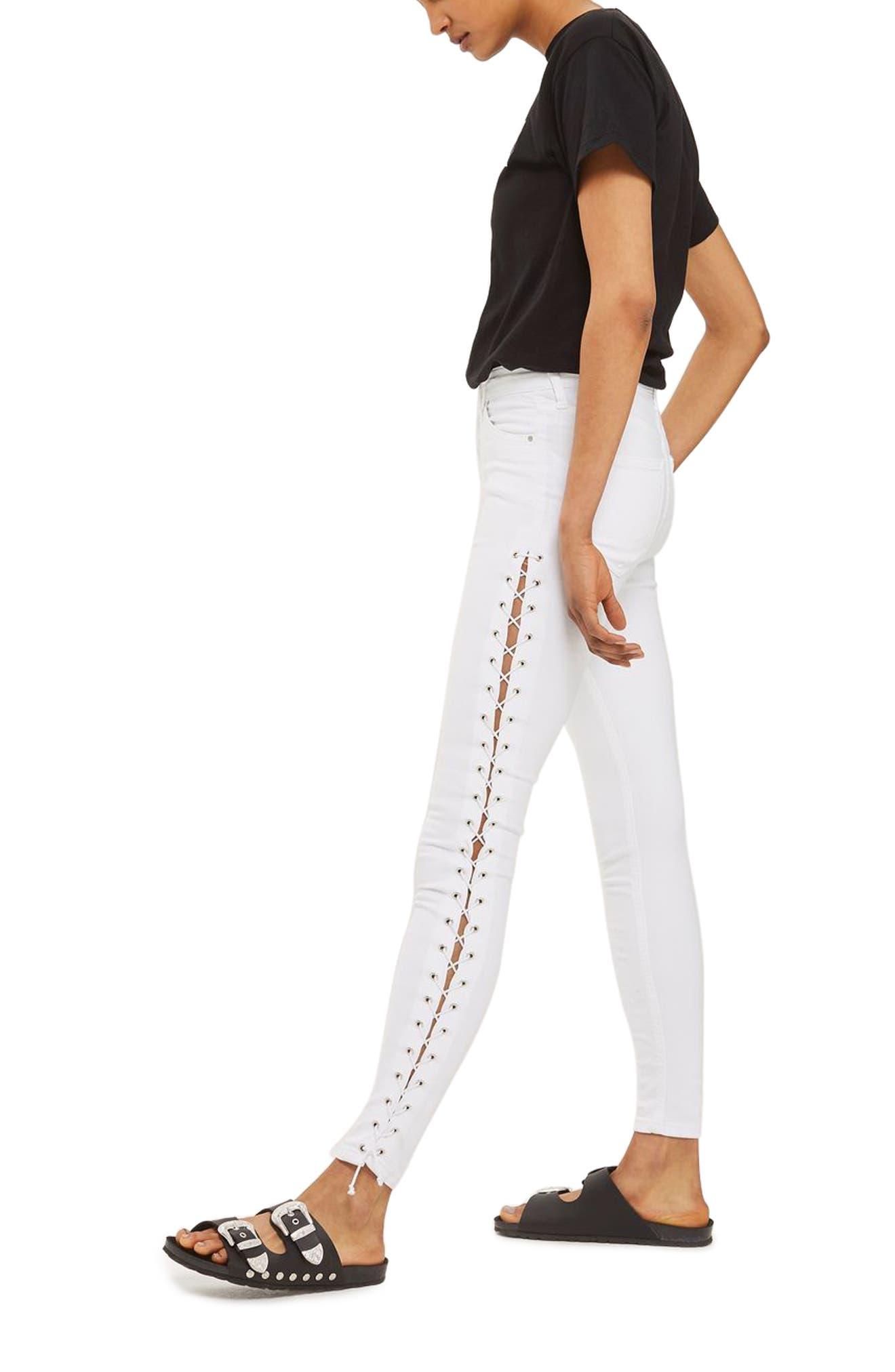 Topshop Jamie Side Lace-Up Skinny Jeans (Regular & Petite)