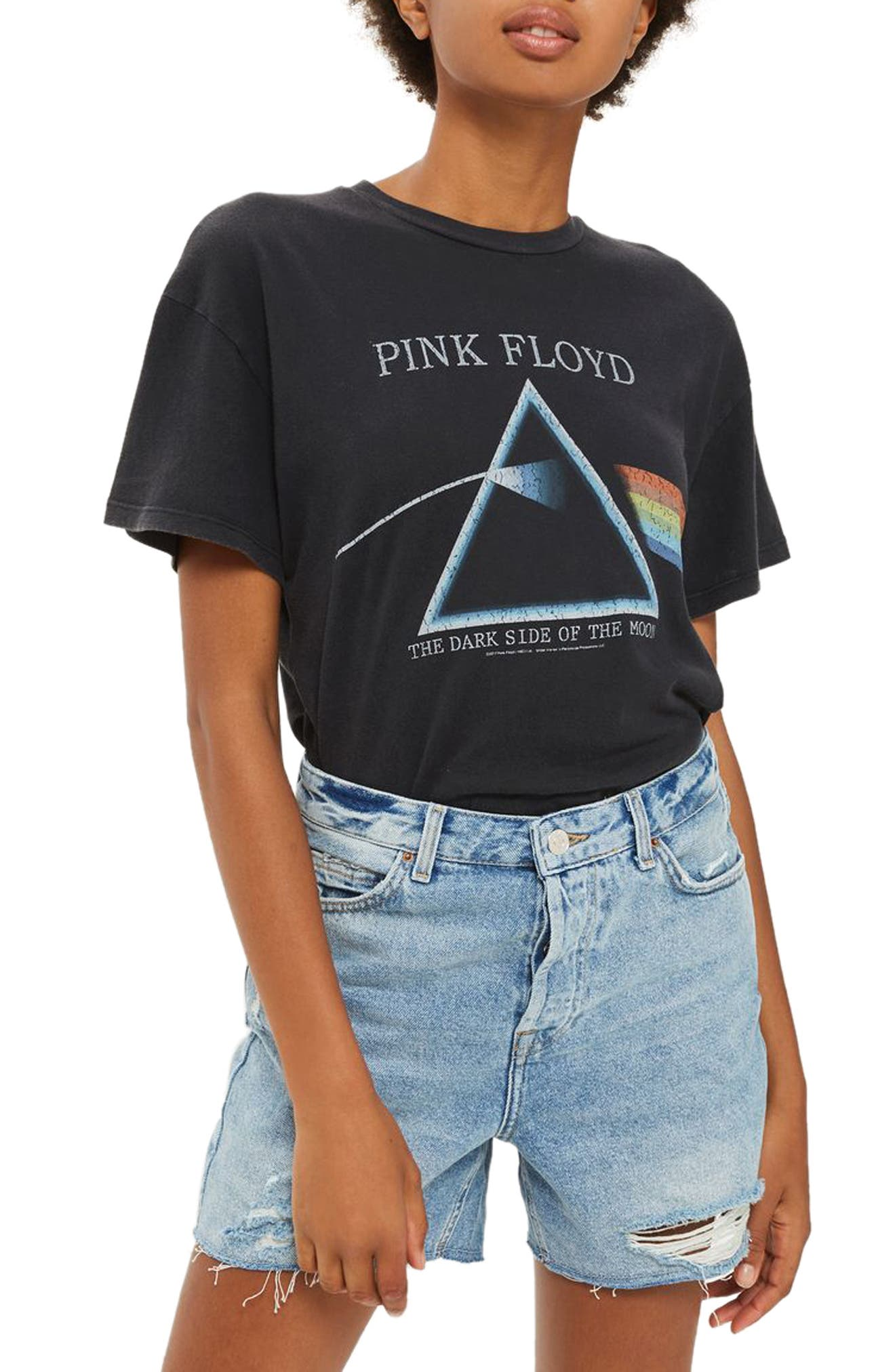 Topshop by And Finally Lace-Up Pink Floyd Tee