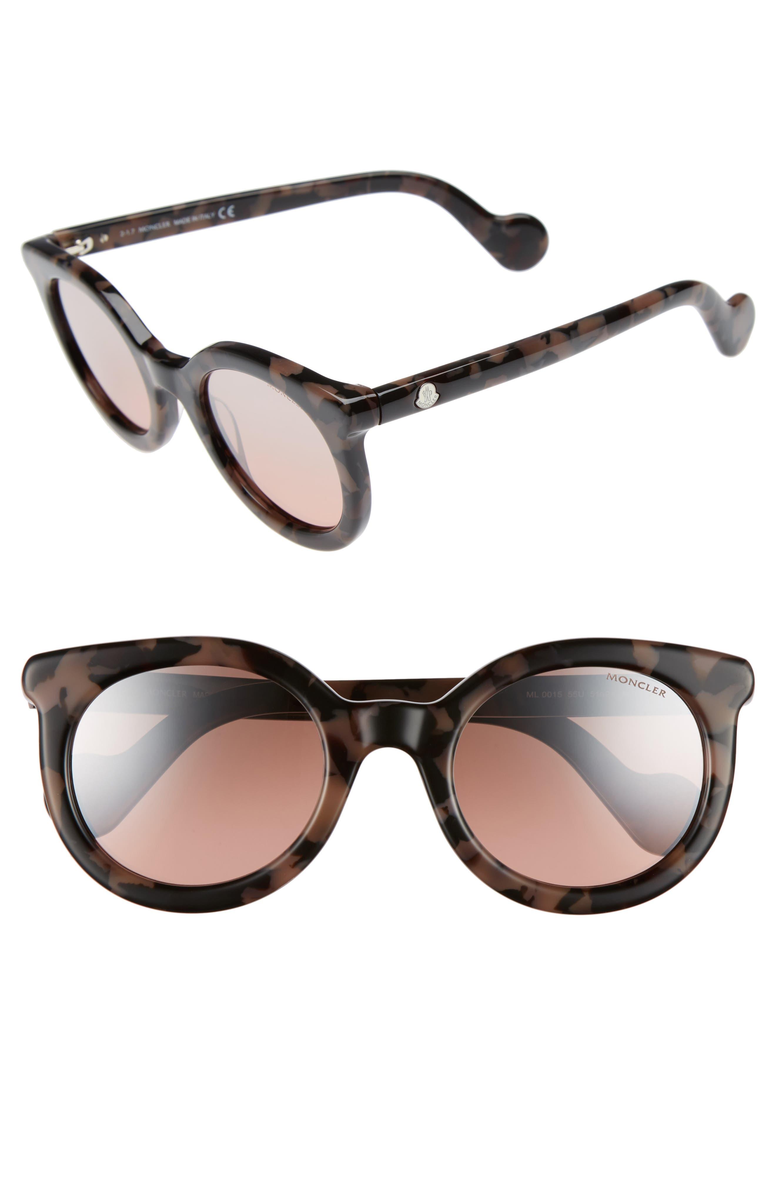 51mm Sunglasses,                         Main,                         color, Havana / Bordeaux Mirror