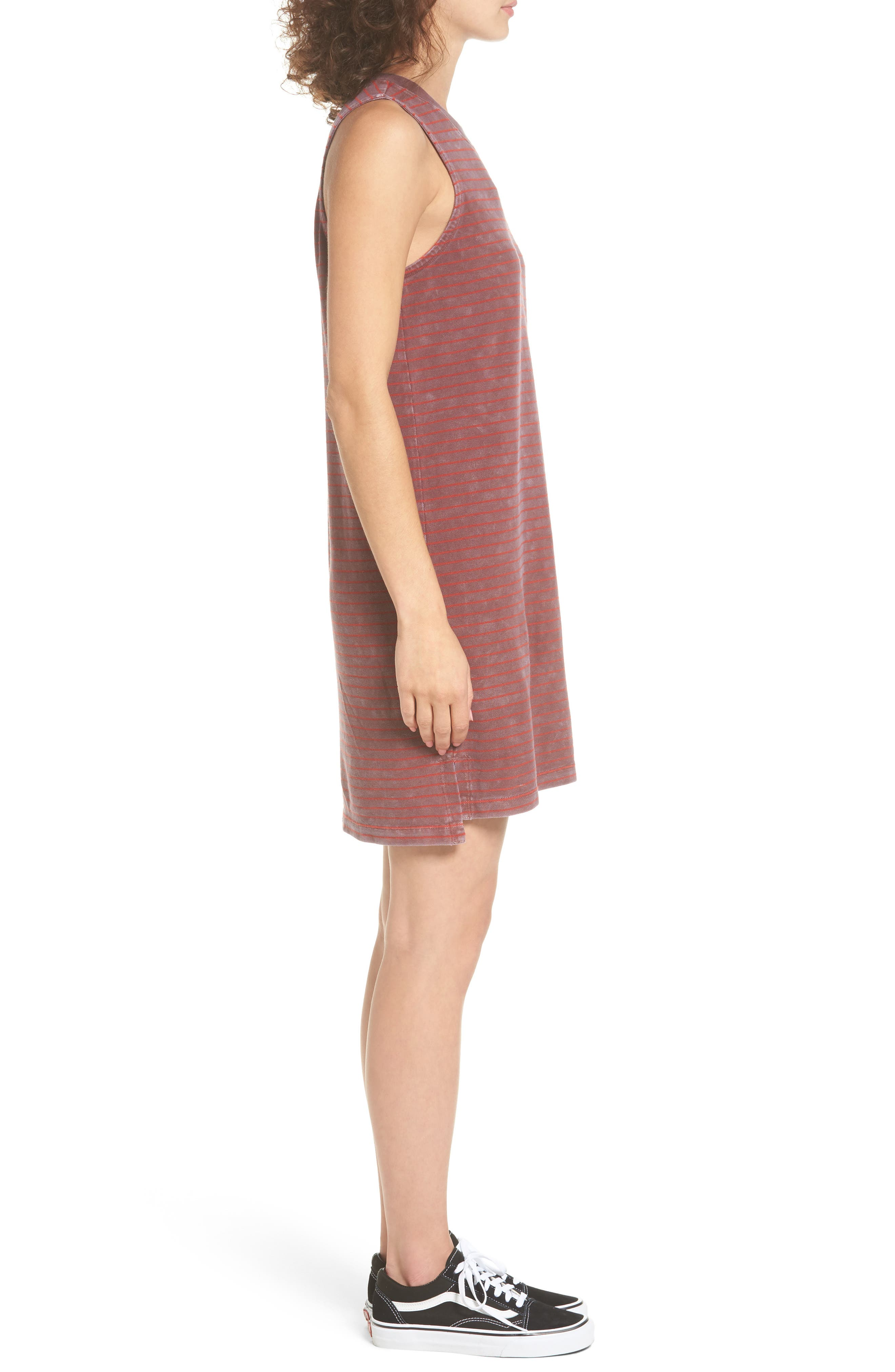 Double Down Stripe Shift Dress,                             Alternate thumbnail 3, color,                             Burnt Red