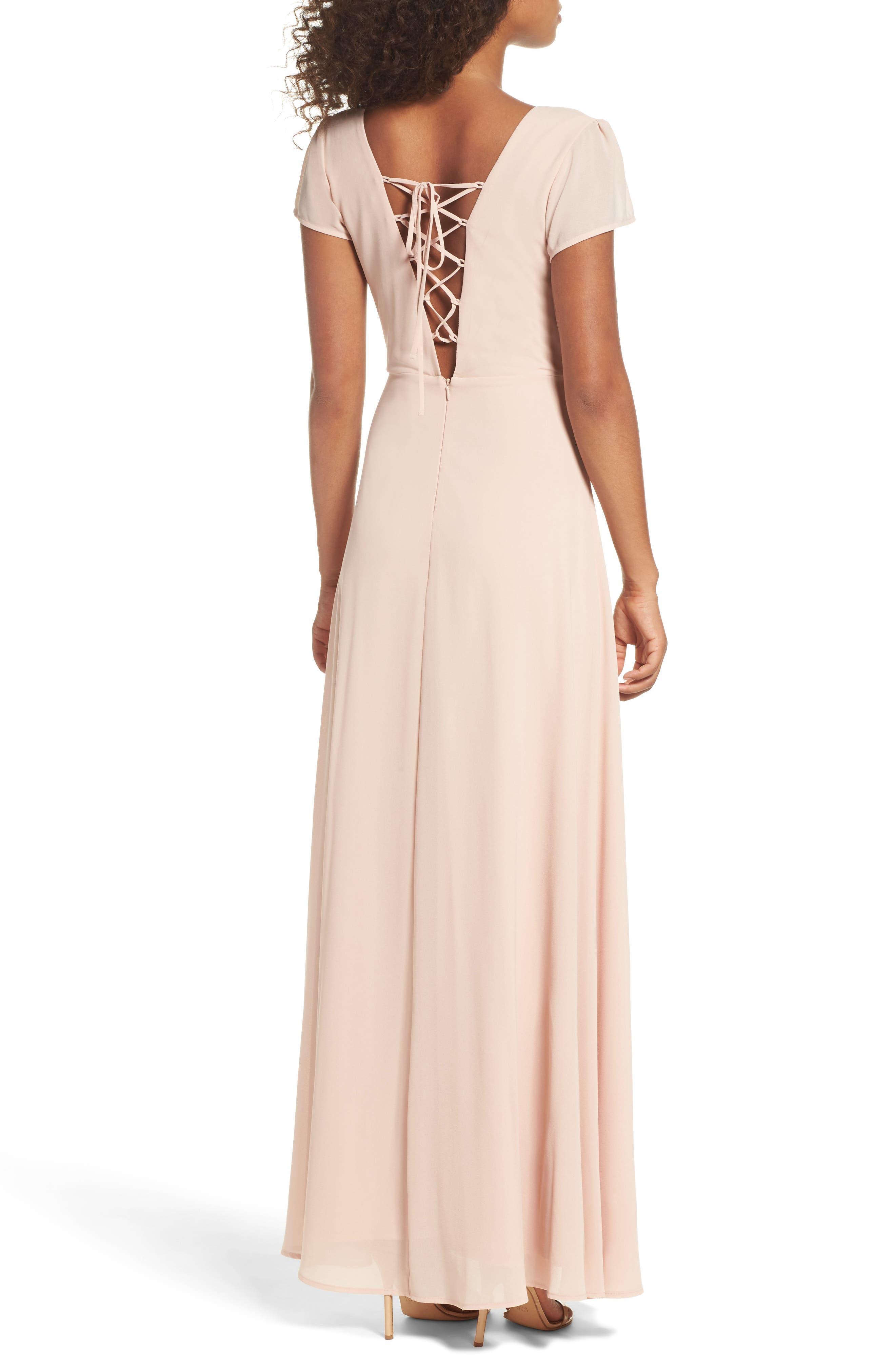 Lace-Up Back Chiffon Gown,                             Alternate thumbnail 3, color,                             Nude Blush
